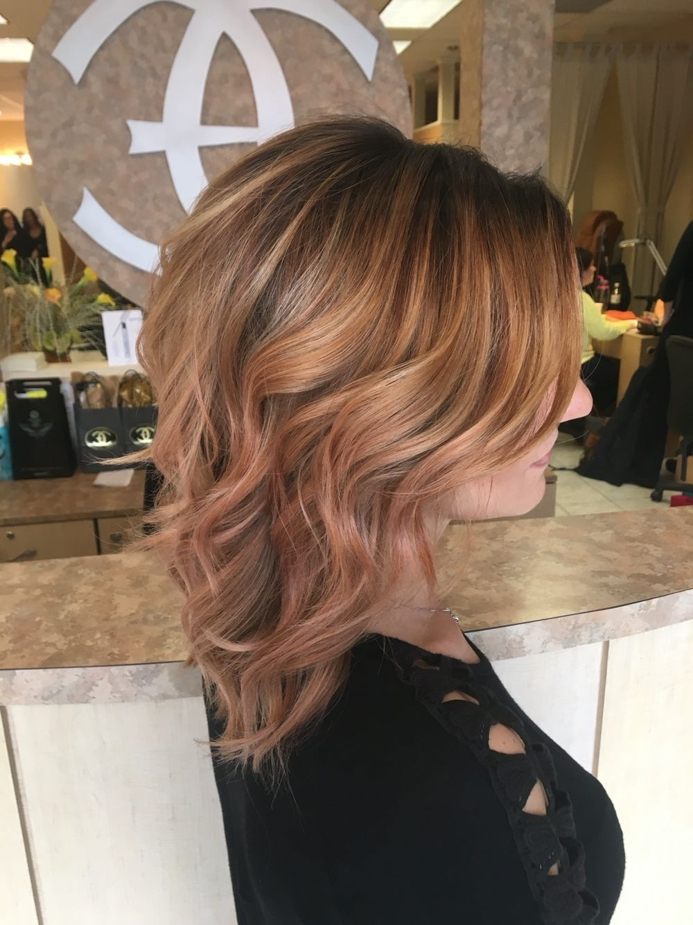 2018 Light Copper Hairstyles With Blonde Babylights Intended For Hand Painted Rose Gold Golden Copper Blonde Balayage Highlights On (View 4 of 20)