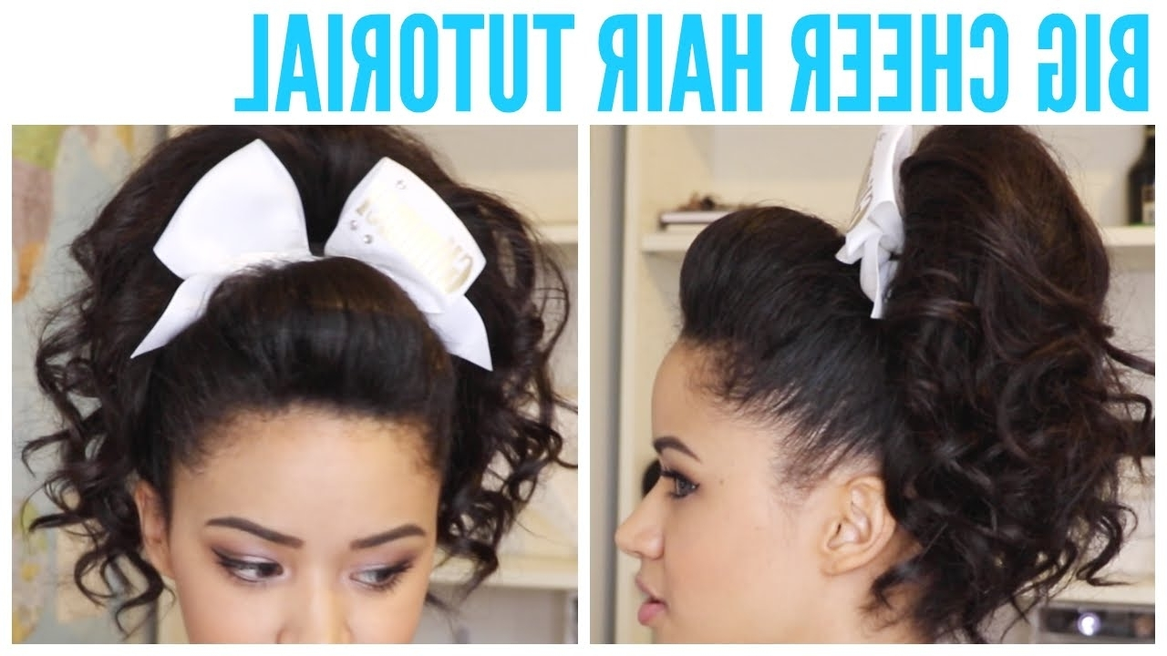 2018 Updo Ponytail Hairstyles With Poof Inside Big Cheer Hair Tutorial – Perfect Poof And Curly Ponytail ♡ – Youtube (View 2 of 20)