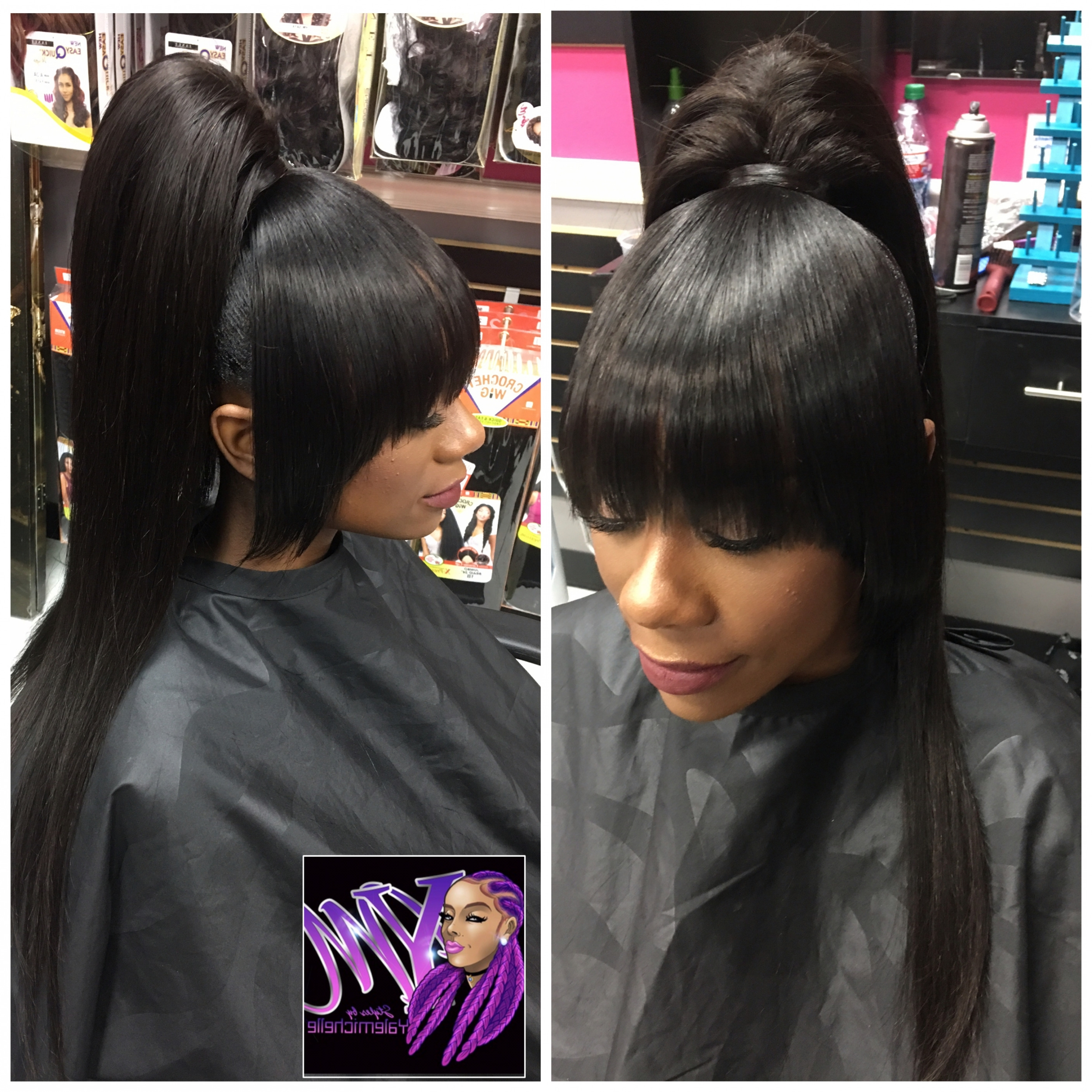 2018 Weave Ponytail Hairstyles Throughout Unique Hair Style Stunning Weave Ponytail With Bangs Hairstyles (View 1 of 20)