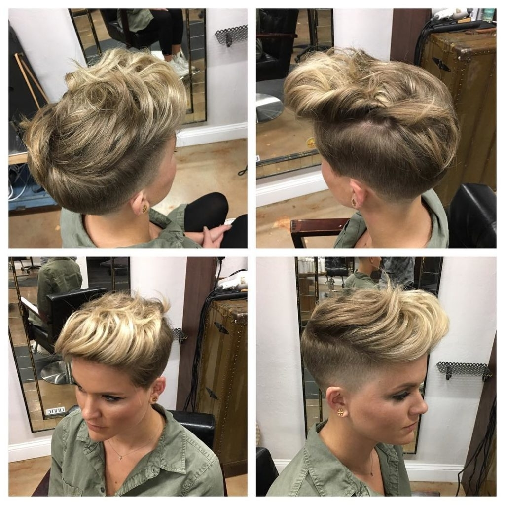 2018 White Blonde Hairstyles With Dark Undercut Throughout Women's Pinned And Twisted Undercut Pixie On Dark Blonde Hair (View 10 of 20)