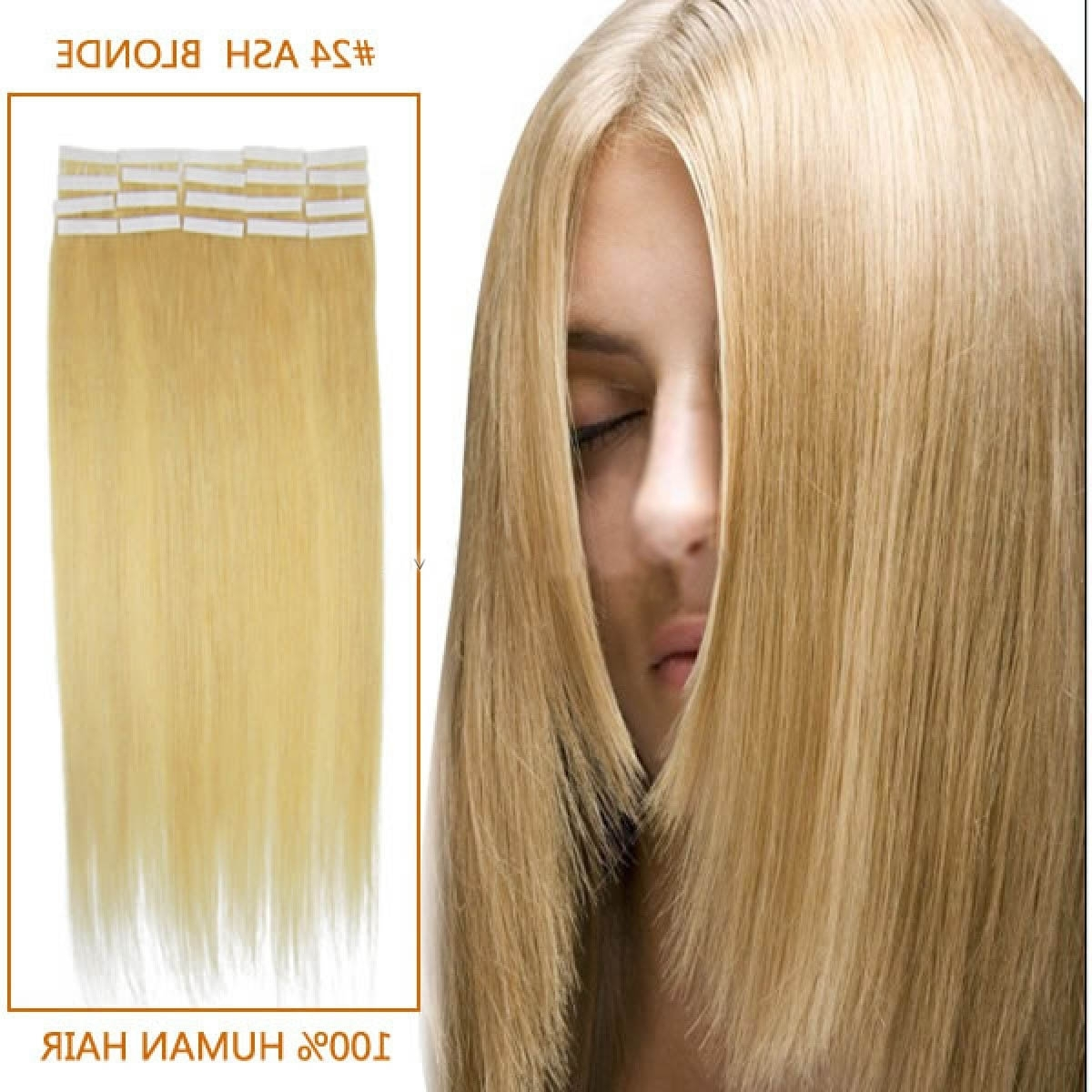24 Inch 20Pcs Sleek Straight Tape In Human Hair Extensions #24 Ash Inside Famous Sleek Ash Blonde Hairstyles (View 3 of 20)