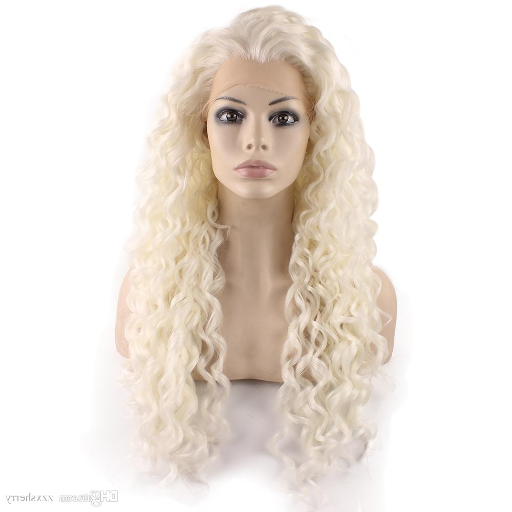 26inch Long Silver White Blonde Synthetic Lace Front Curly Wig White Pertaining To Widely Used White Blonde Curls Hairstyles (View 8 of 20)
