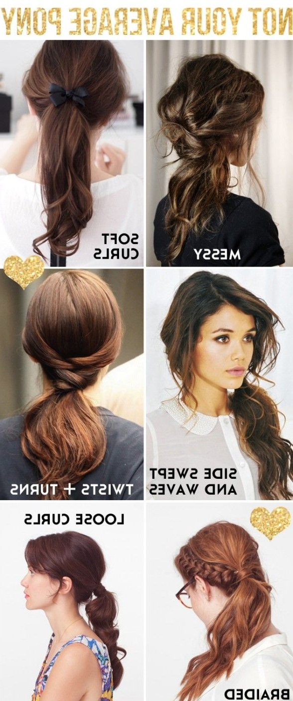28 Pretty And Cute Hairstyles For School Girls – Pretty Designs Within Best And Newest Asymmetrical Curly Ponytail Hairstyles (View 2 of 20)