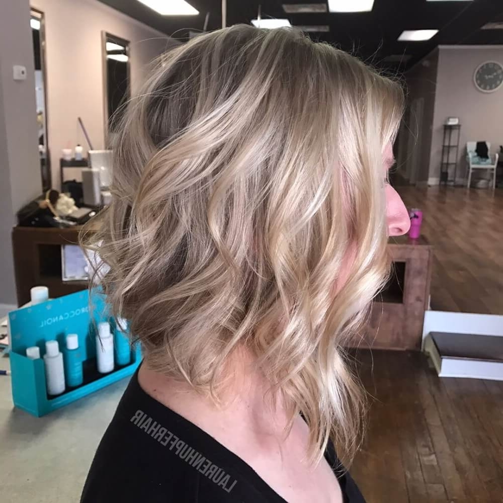 29 Cutest Long Bob Haircuts & Lob Styles Of 2018 Intended For Popular Caramel Blonde Lob With Bangs (View 3 of 20)