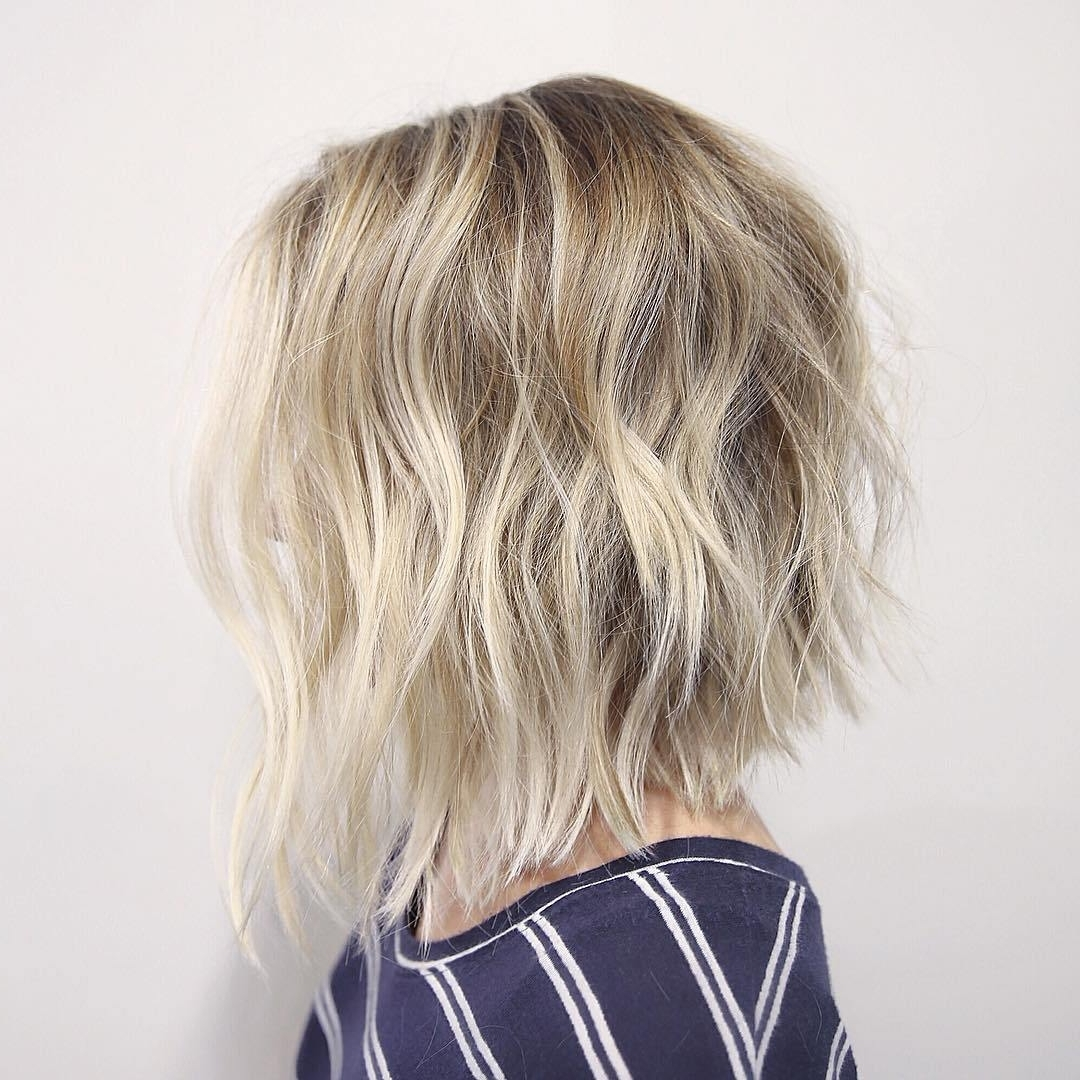 30 Cute Messy Bob Hairstyle Ideas 2018 (Short Bob, Mod & Lob Inside Current Angled Wavy Lob Blonde Hairstyles (View 3 of 20)