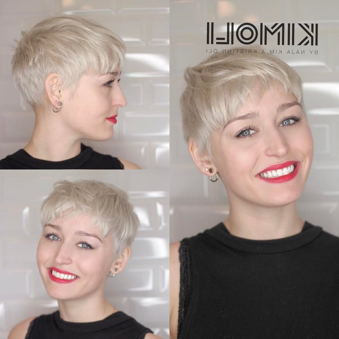 30 Cute Pixie Cuts: Short Hairstyles For Oval Faces – Popular Haircuts Regarding Favorite Bleach Blonde Pixie Hairstyles (View 17 of 20)