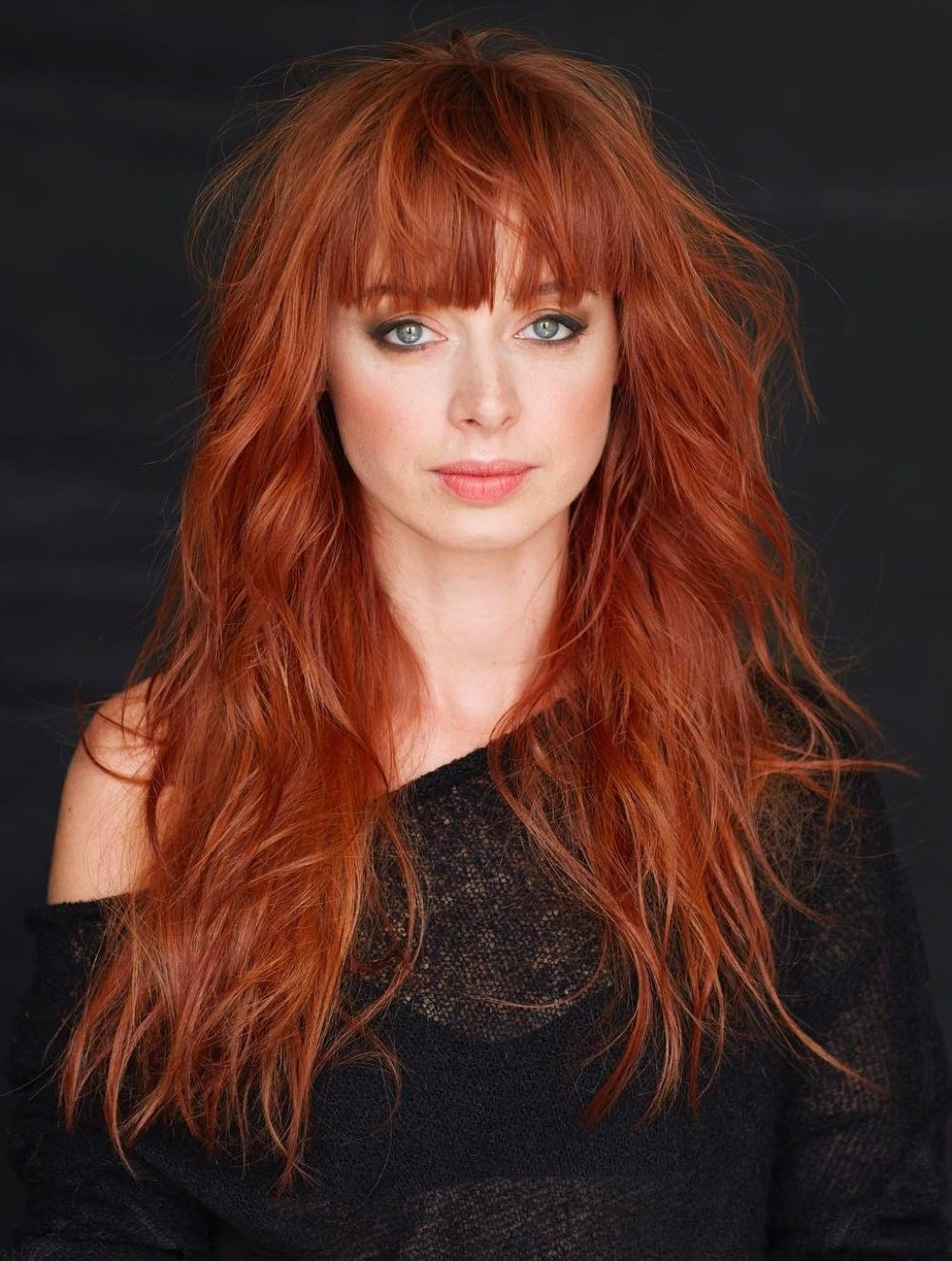 33 Greatest Long Shag Haircuts To Try In 2018 Regarding Most Recently Released Ginger Highlights Ponytail Hairstyles With Side Bangs (View 10 of 20)