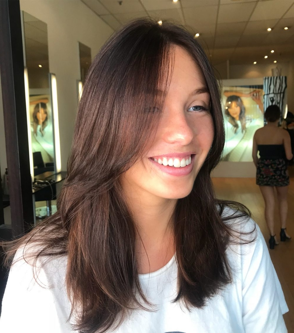 35 Best Long Hair With Bangs For Women In 2018 With Trendy Weaved Polished Pony Hairstyles With Blunt Bangs (View 16 of 20)