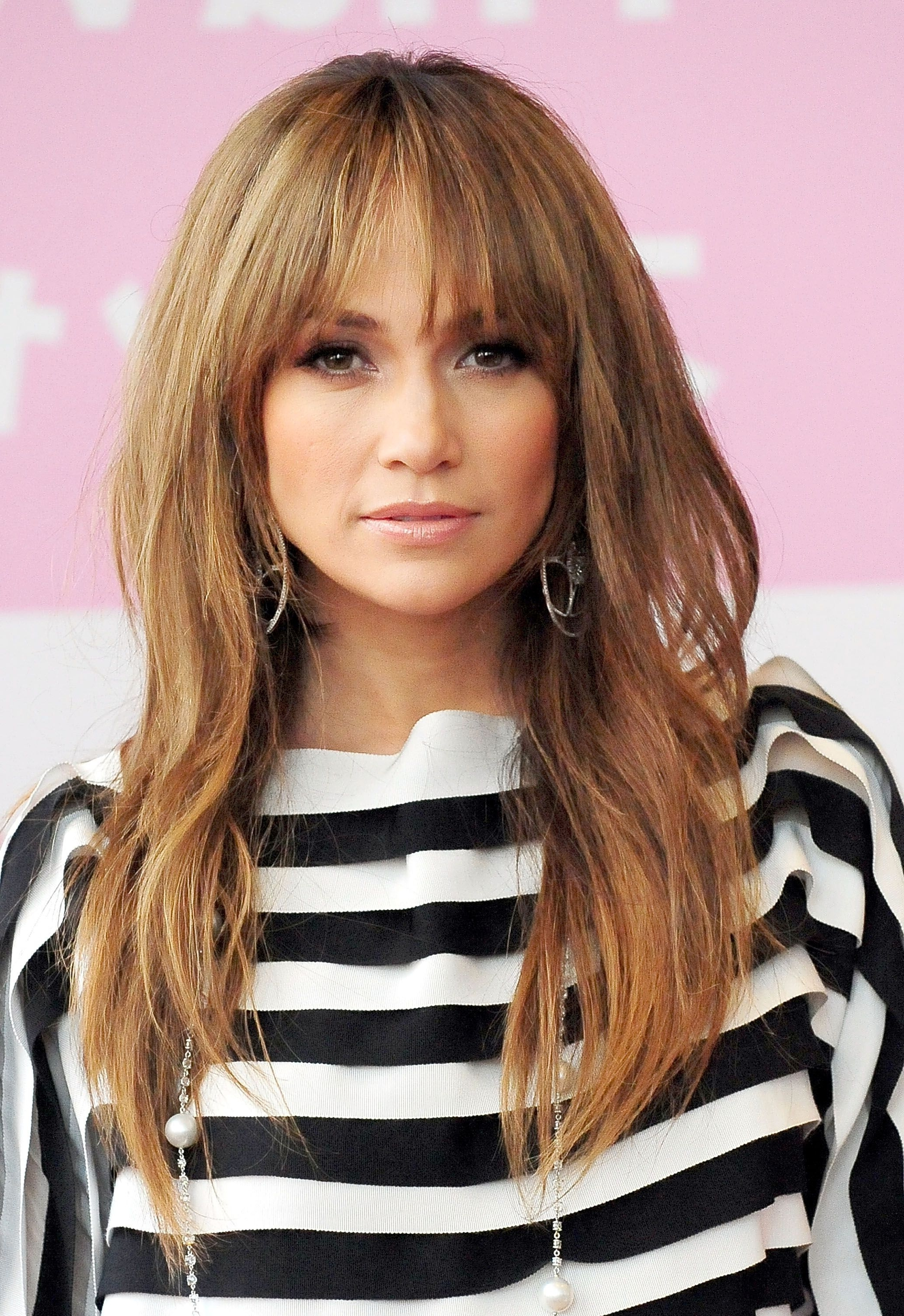 35 Long Hairstyles With Bangs – Best Celebrity Long Hair With Bangs Regarding Widely Used Feathered Cut Blonde Hairstyles With Middle Part (View 3 of 20)
