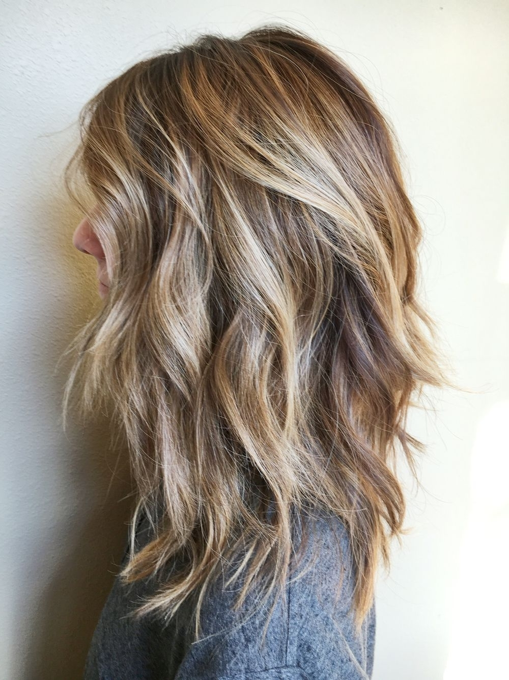 40 Amazing Medium Length Hairstyles & Shoulder Length Haircuts Inside Trendy Balayage Pixie Hairstyles With Tiered Layers (View 3 of 20)