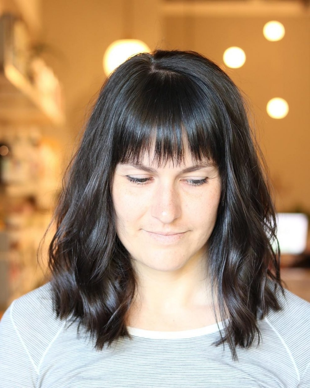 46 Bob With Bangs Hairstyle Ideas Trending For 2018 Throughout Trendy Weaved Polished Pony Hairstyles With Blunt Bangs (View 14 of 20)