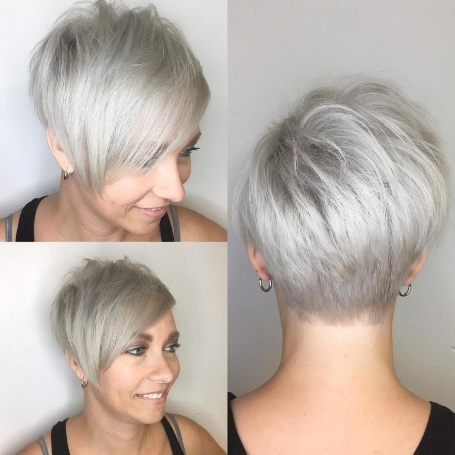 50 Super Cute Looks With Short Hairstyles For Round Faces With Regard To Latest Gray Blonde Pixie Hairstyles (View 4 of 20)