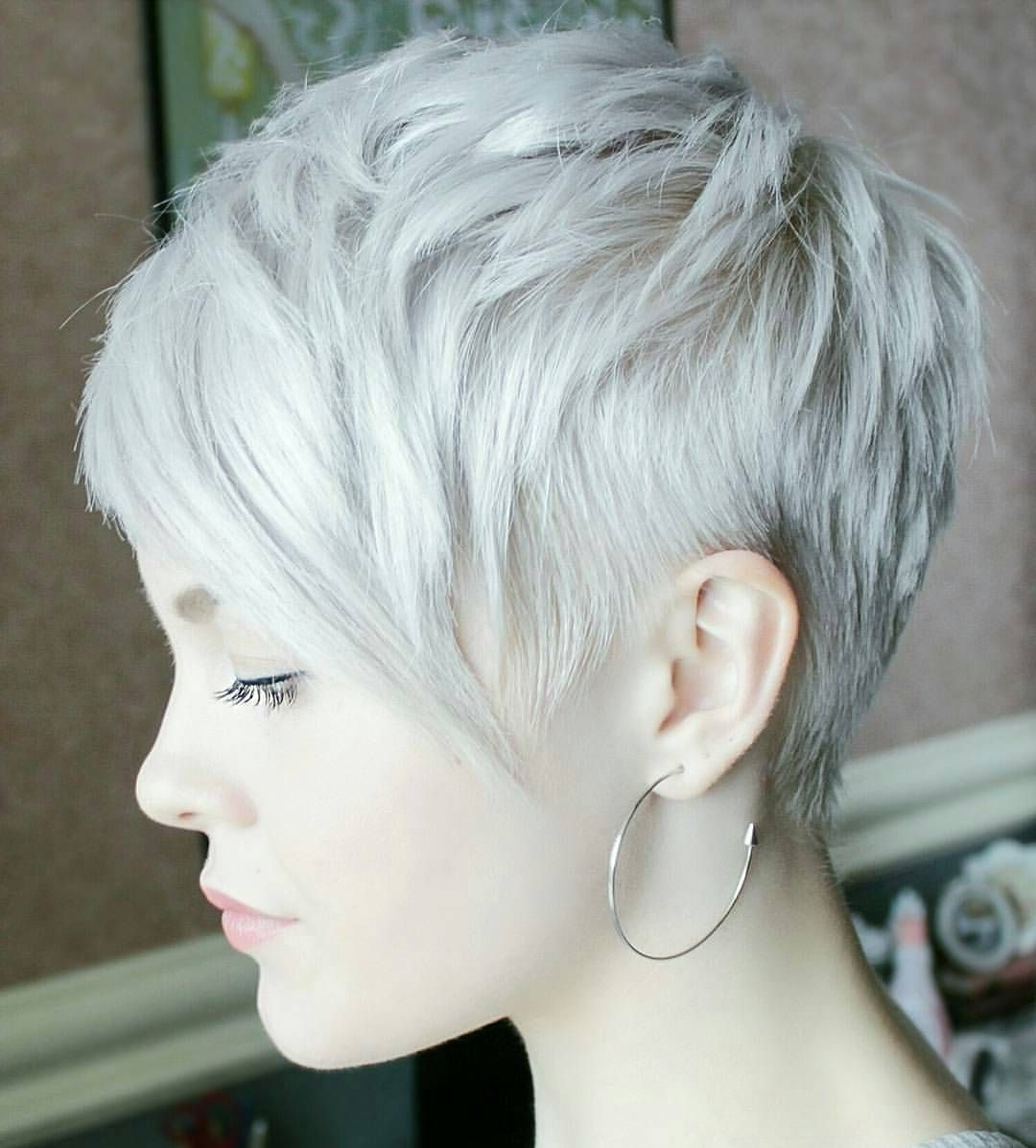 50 Trendsetting Short And Long Pixie Haircut Styles — Cutest Of Them Intended For Favorite Gray Blonde Pixie Hairstyles (View 5 of 20)