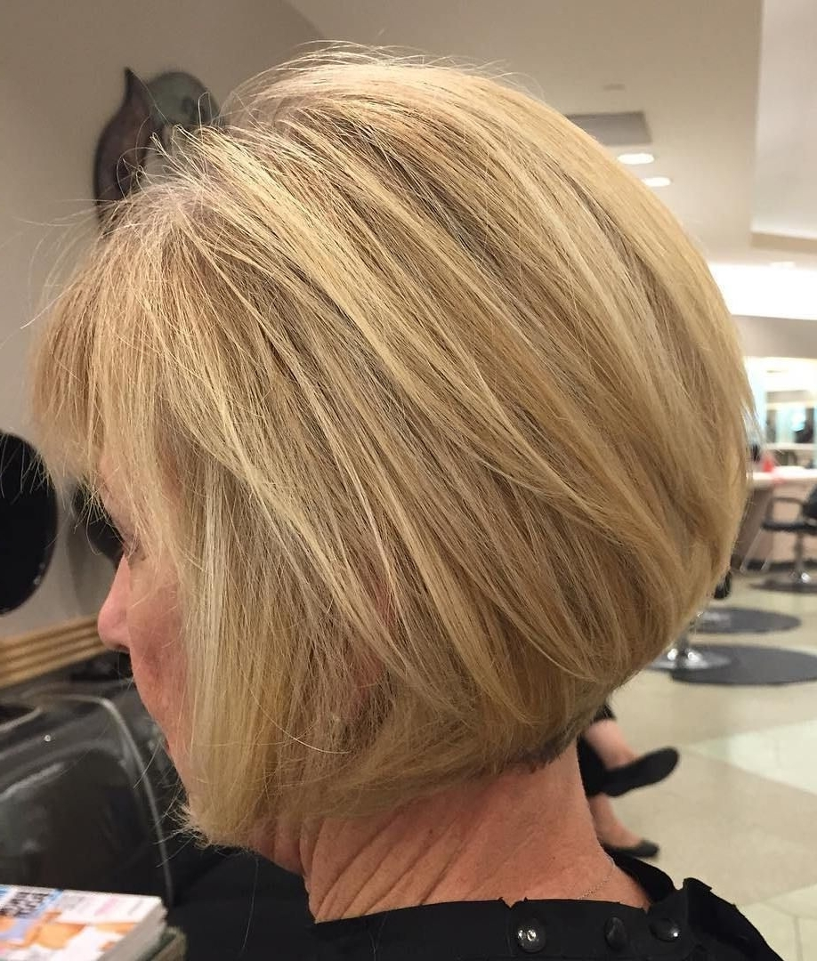 60 Best Hairstyles And Haircuts For Women Over 60 To Suit Any Taste In Popular Asymmetry Blonde Bob Hairstyles Enhanced By Color (View 5 of 20)