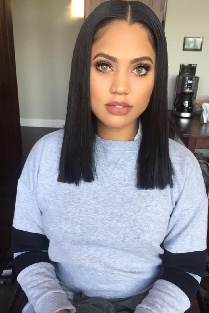 60 Gorgeous Blunt Cut Hairstyles – The Haircut That Works On With Most Up To Date Weaved Polished Pony Hairstyles With Blunt Bangs (View 12 of 20)