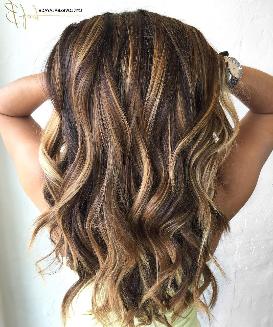 60 Looks With Caramel Highlights On Brown And Dark Brown Hair Inside Best And Newest Rosewood Blonde Waves Hairstyles (View 3 of 20)