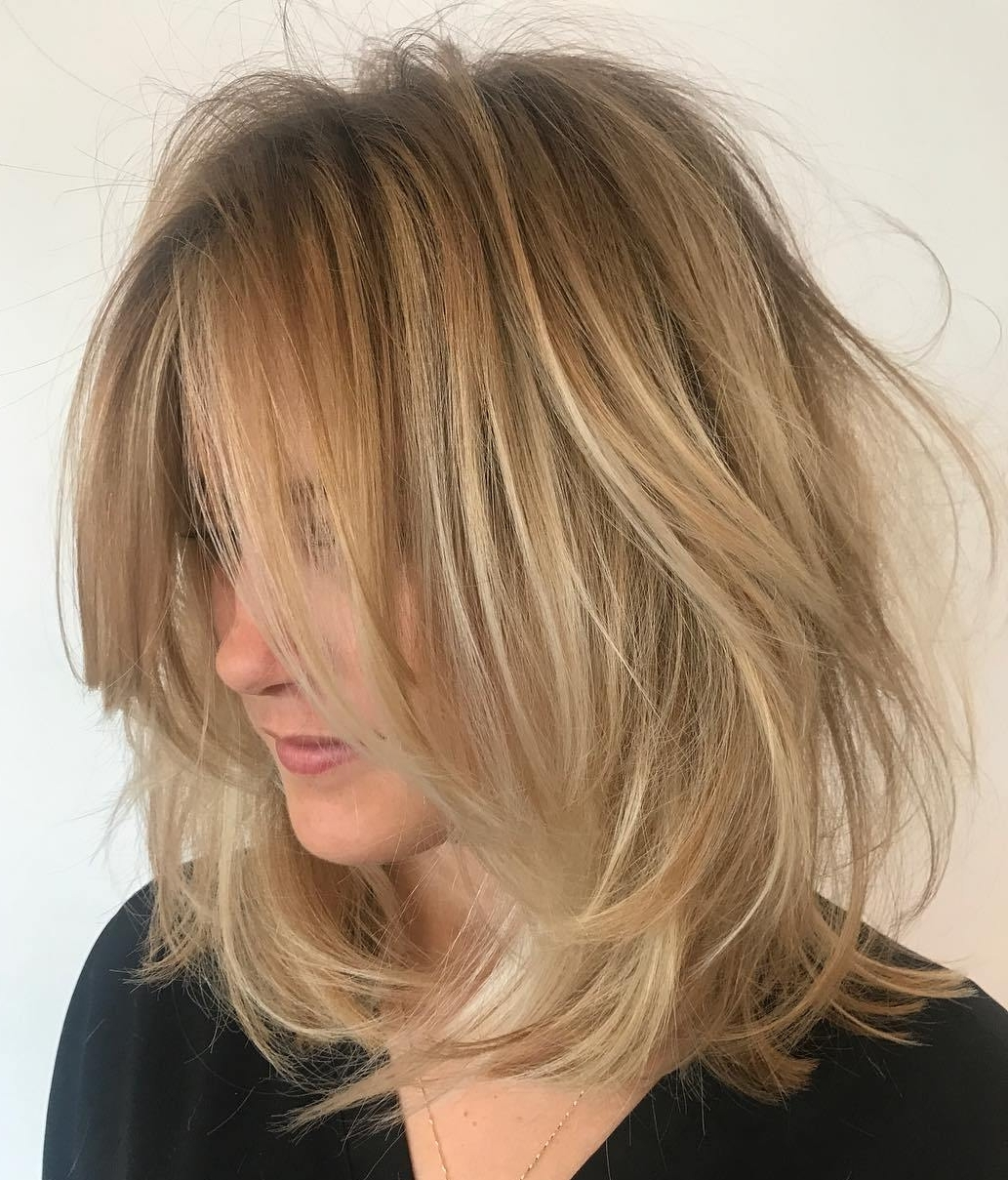 70 Devastatingly Cool Haircuts For Thin Hair Regarding Recent Volumized Caramel Blonde Lob Hairstyles (View 5 of 20)