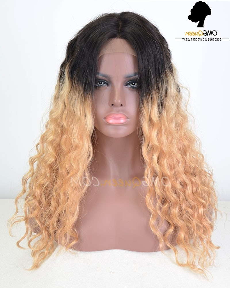 Affordable Virgin Brazilian Hair Deep Wave Blonde Ombre #1b/27 Lace With Regard To Well Known Blonde Ombre Waves Hairstyles (View 13 of 20)