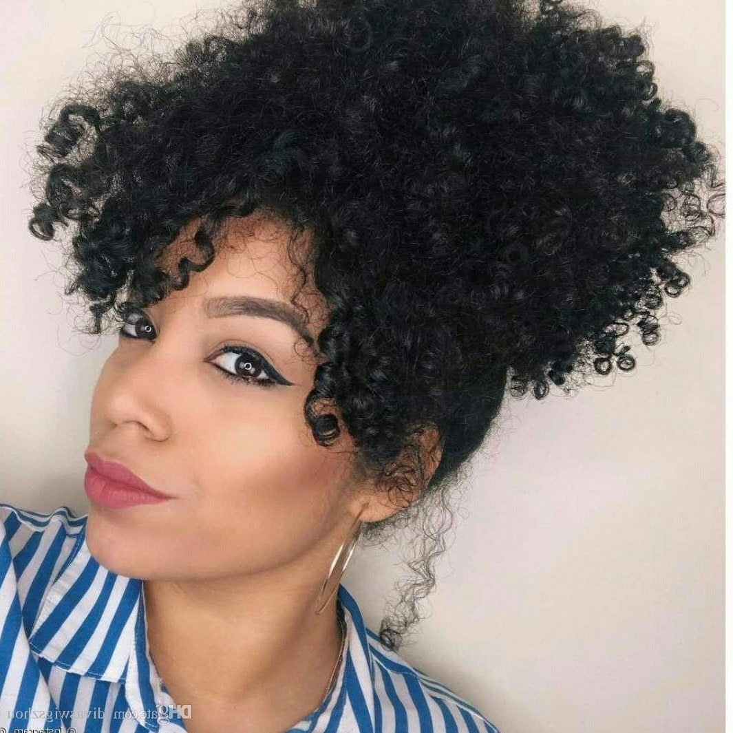 Afro Kinky Curly Ponytail With Bang For Fashion Women Natural Black Within Trendy Natural Curly Pony Hairstyles With Bangs (Gallery 6 of 20)