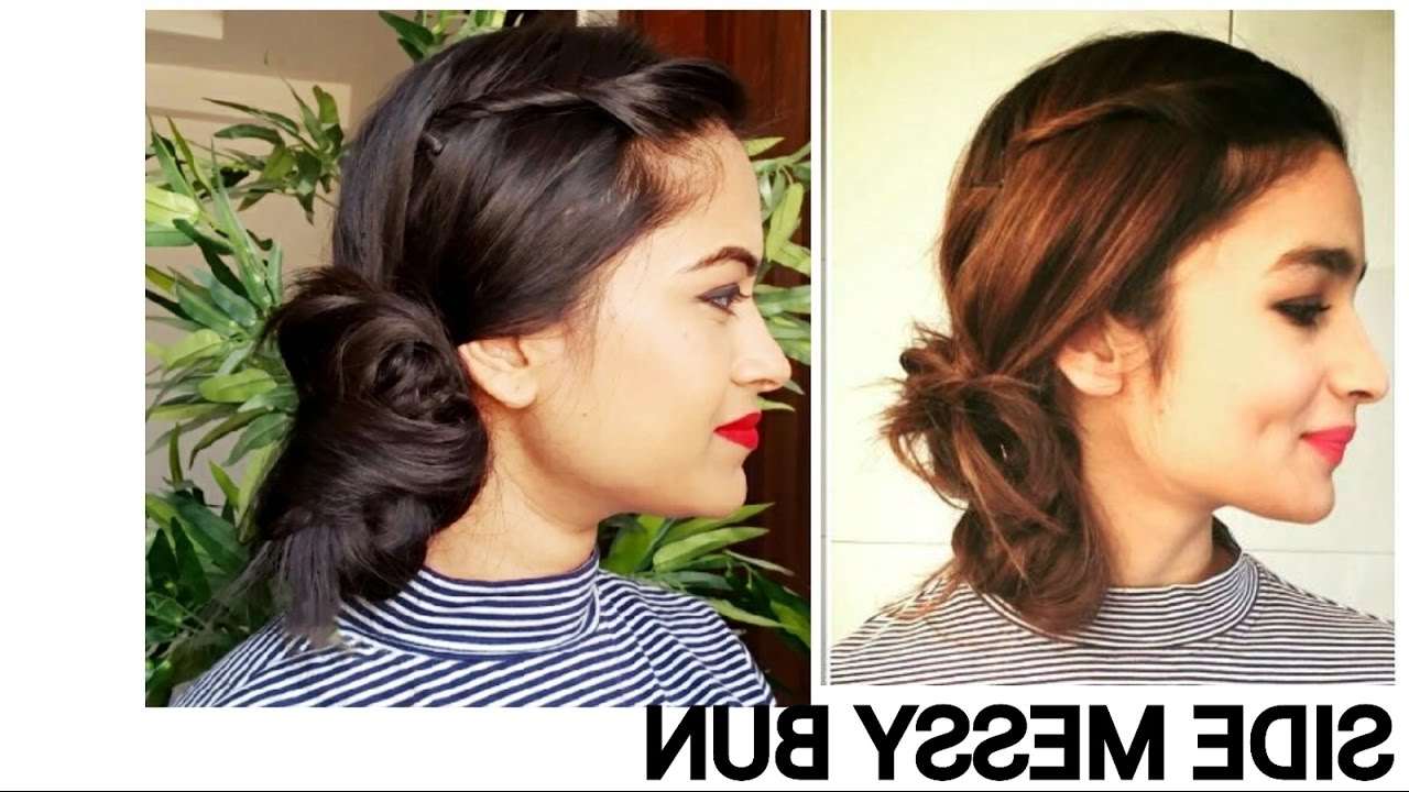 Alia Bhatt Side Messy Bun//everyday Easy Hairstyles For Medium/long For Recent Simple Side Messy Ponytail Hairstyles (Gallery 13 of 20)