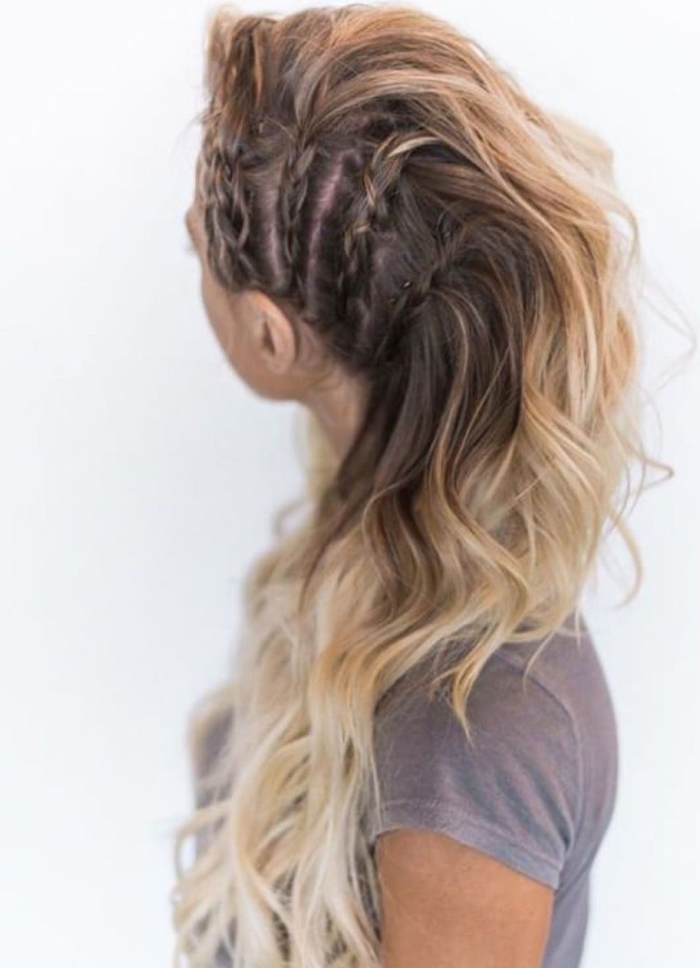 Avante Garde Inspired Side Braid Faux Mohawk With Curls All Falling Throughout Most Popular Brunette Macrame Braid Hairstyles (Gallery 8 of 20)