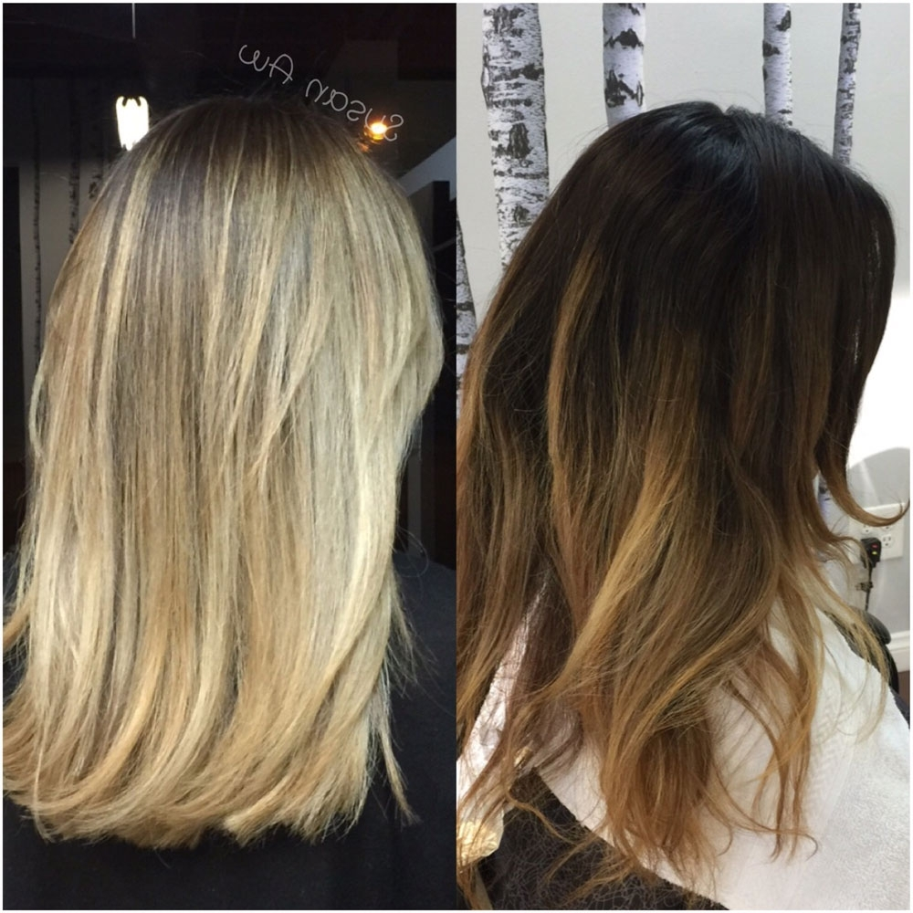 Bad Banded Sombre To Pretty Classic Highlighted Blonde – Career Regarding Most Up To Date Classic Blonde Balayage Hairstyles (View 6 of 20)