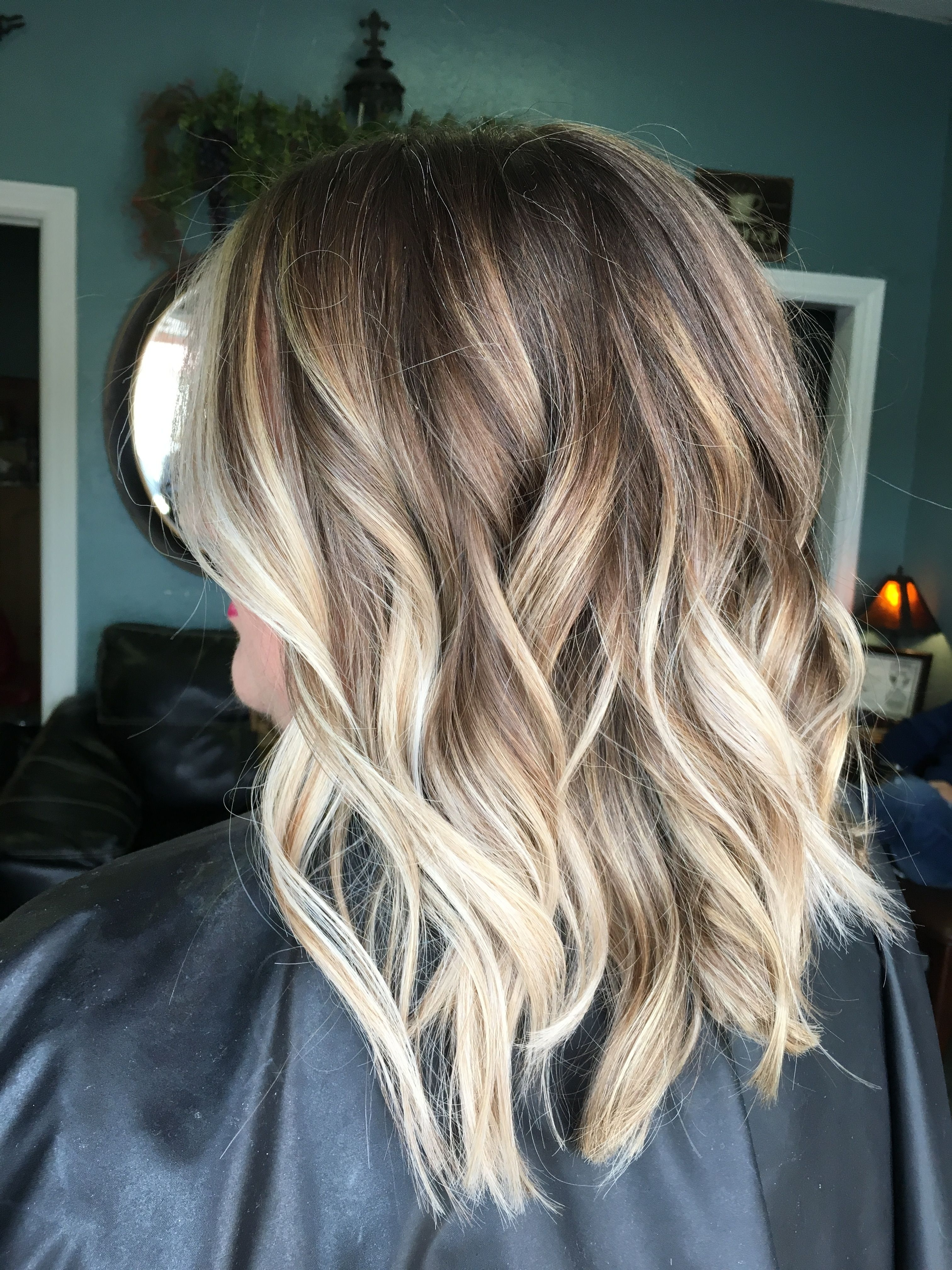 Balayage, Blonde Hair, Brown Hair, Blonde Highlights, Lob, Bob Regarding Best And Newest Loose Curls Blonde With Streaks (View 7 of 20)