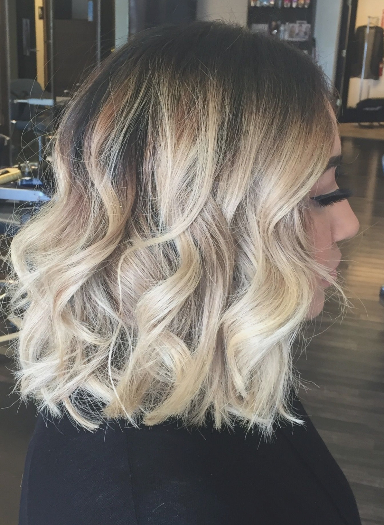 Balayage Ombre Highlights On Short Hair. Long Bob. Lob (View 6 of 20)