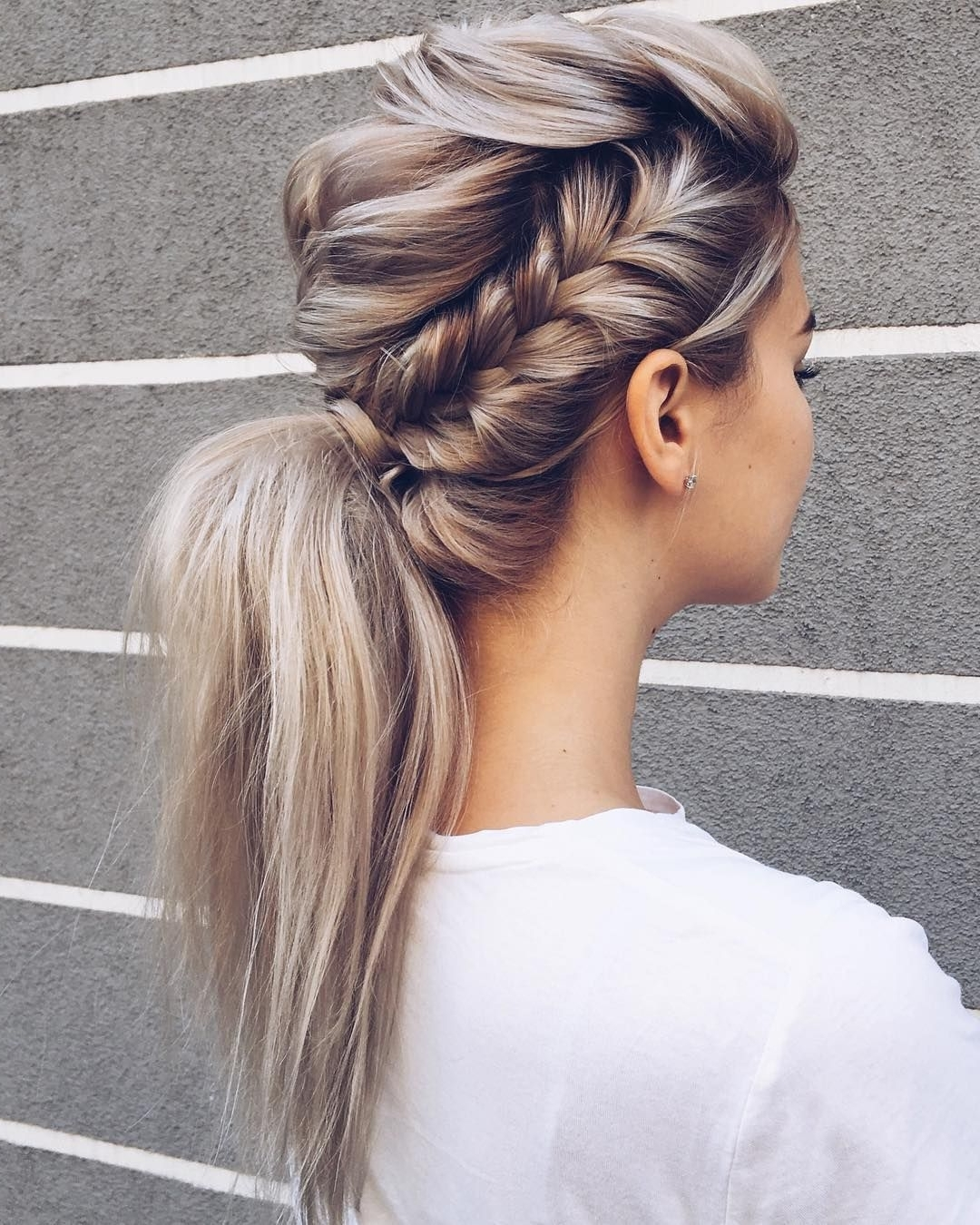 Beautiful Braid And Ponytail Hairstyle , Fishtail Braided Ponytail Regarding Best And Newest Romantically Messy Ponytail Hairstyles (View 4 of 20)