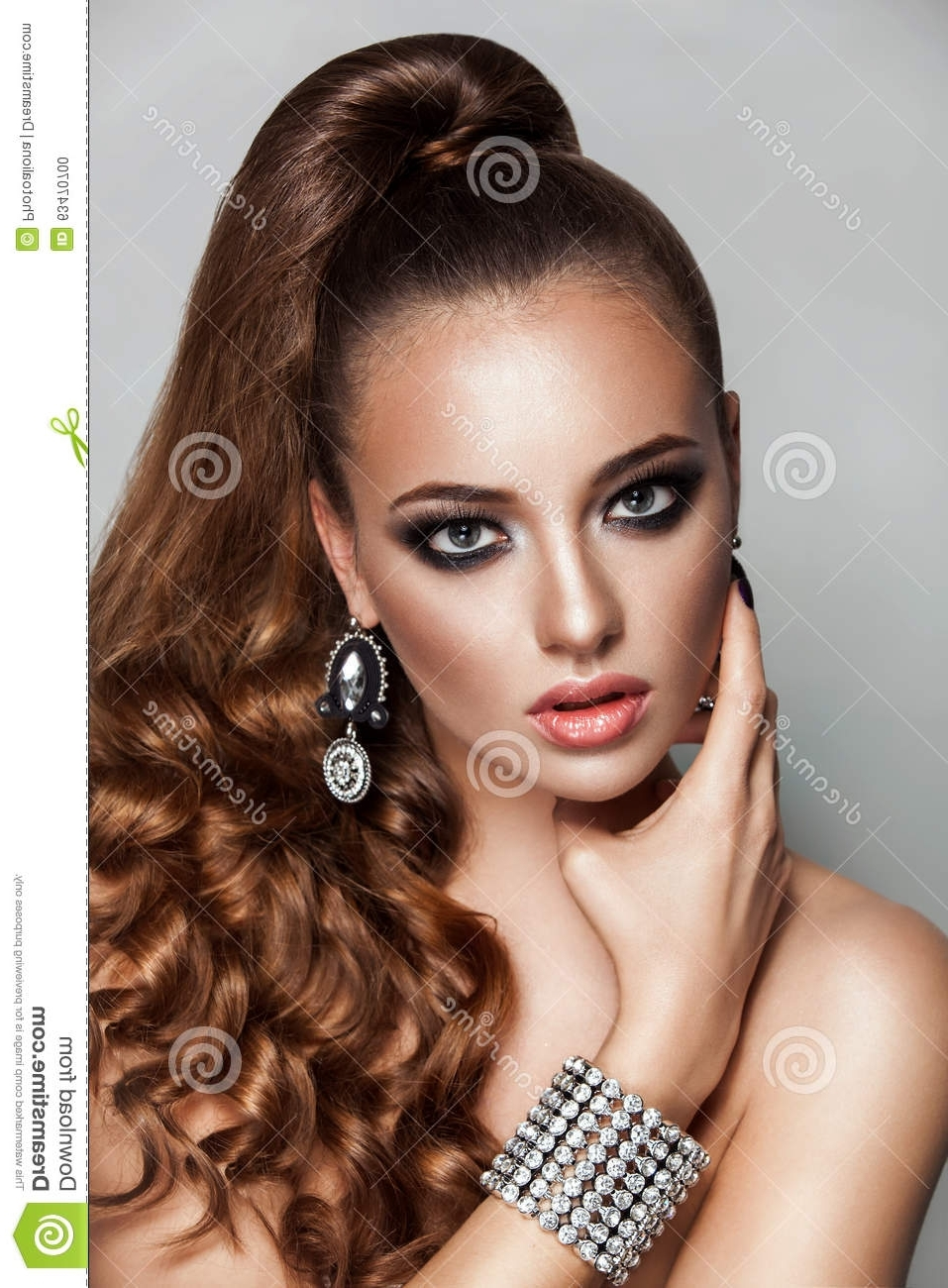 Beauty Brunette Fashion Model Girl With Long Healthy Curly Brown Regarding Well Known Ponytail Hairstyles For Brunettes (View 6 of 20)