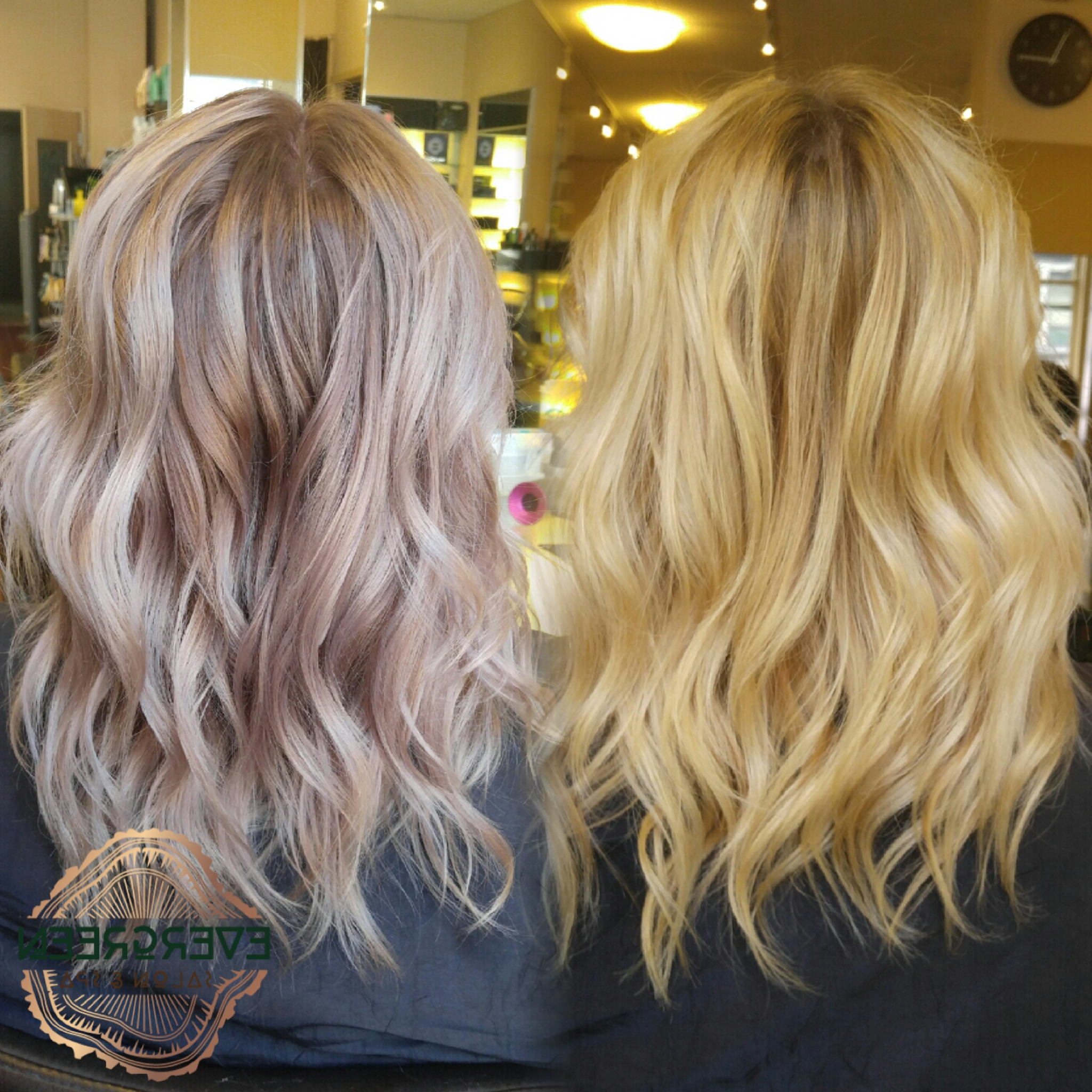 Before After Blonde Mauve Metallic Soft Color Medium Length Wavy Regarding Well Liked Rosewood Blonde Waves Hairstyles (View 5 of 20)