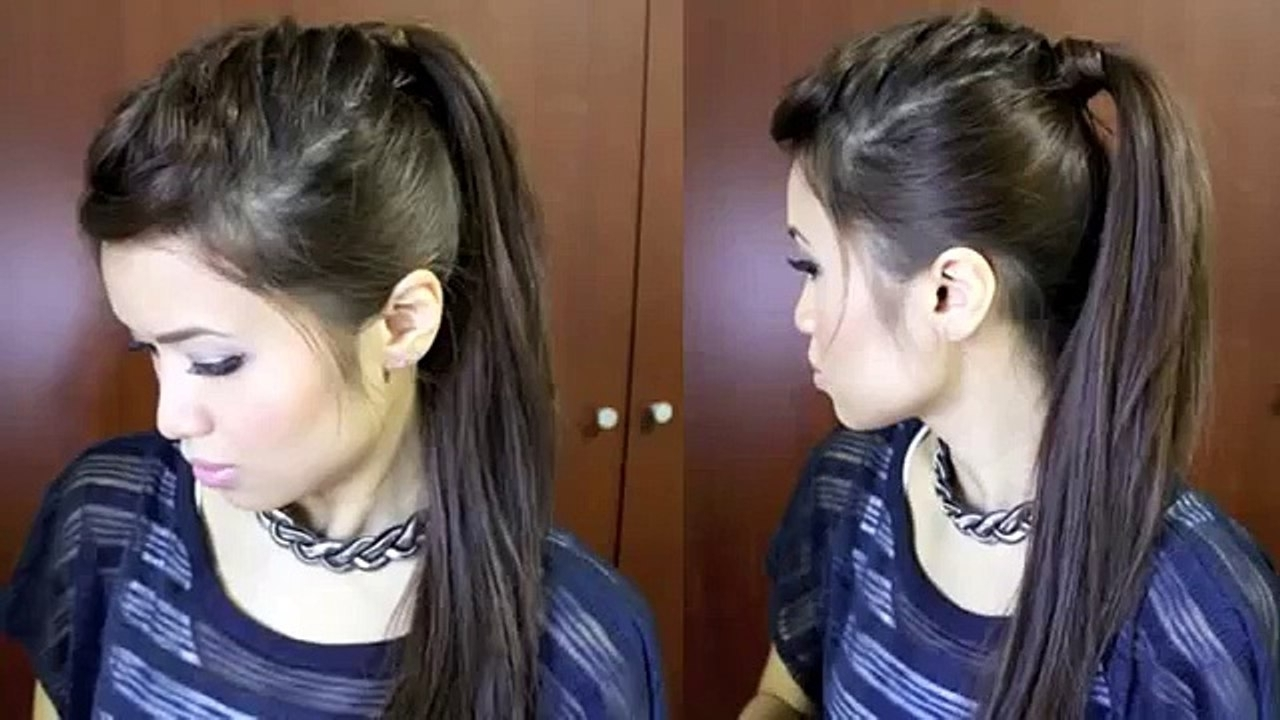 Best And Newest Half French Braid Ponytail Hairstyles With Regard To Nicole Scherzinger French Braid Edgy Ponytail Hairstyle For Medium (View 2 of 20)