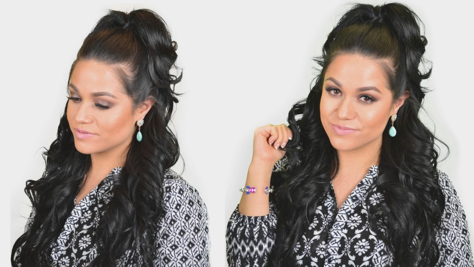 Best And Newest Half Up Curly Look Pony Hairstyles Throughout Khloe Kardashian Half Up High Ponytail Hairstyle Using Clip In Hair (View 18 of 20)