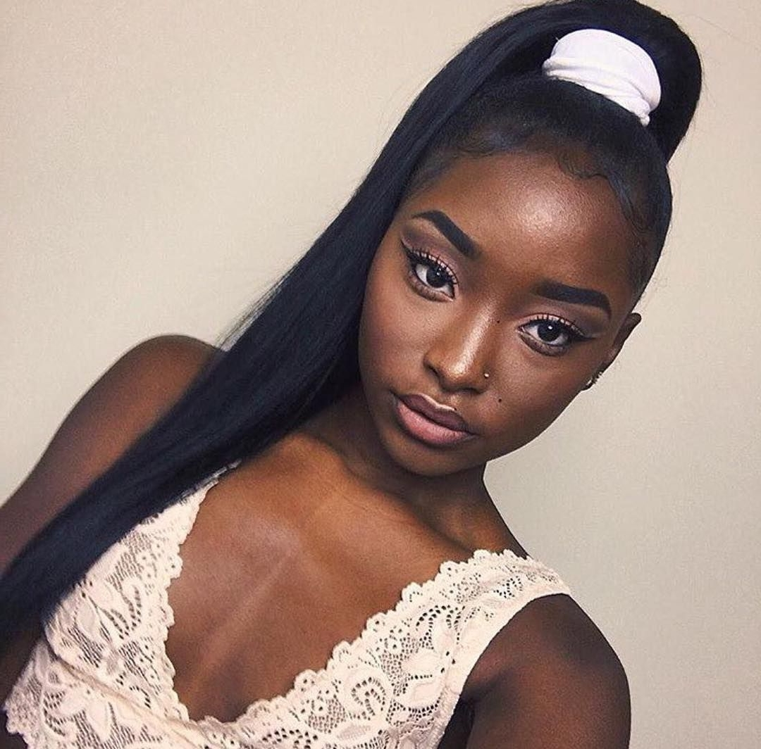 Best And Newest On Top Ponytail Hairstyles For African American Women Inside Long, Stick Straight High Ponytail (View 3 of 20)