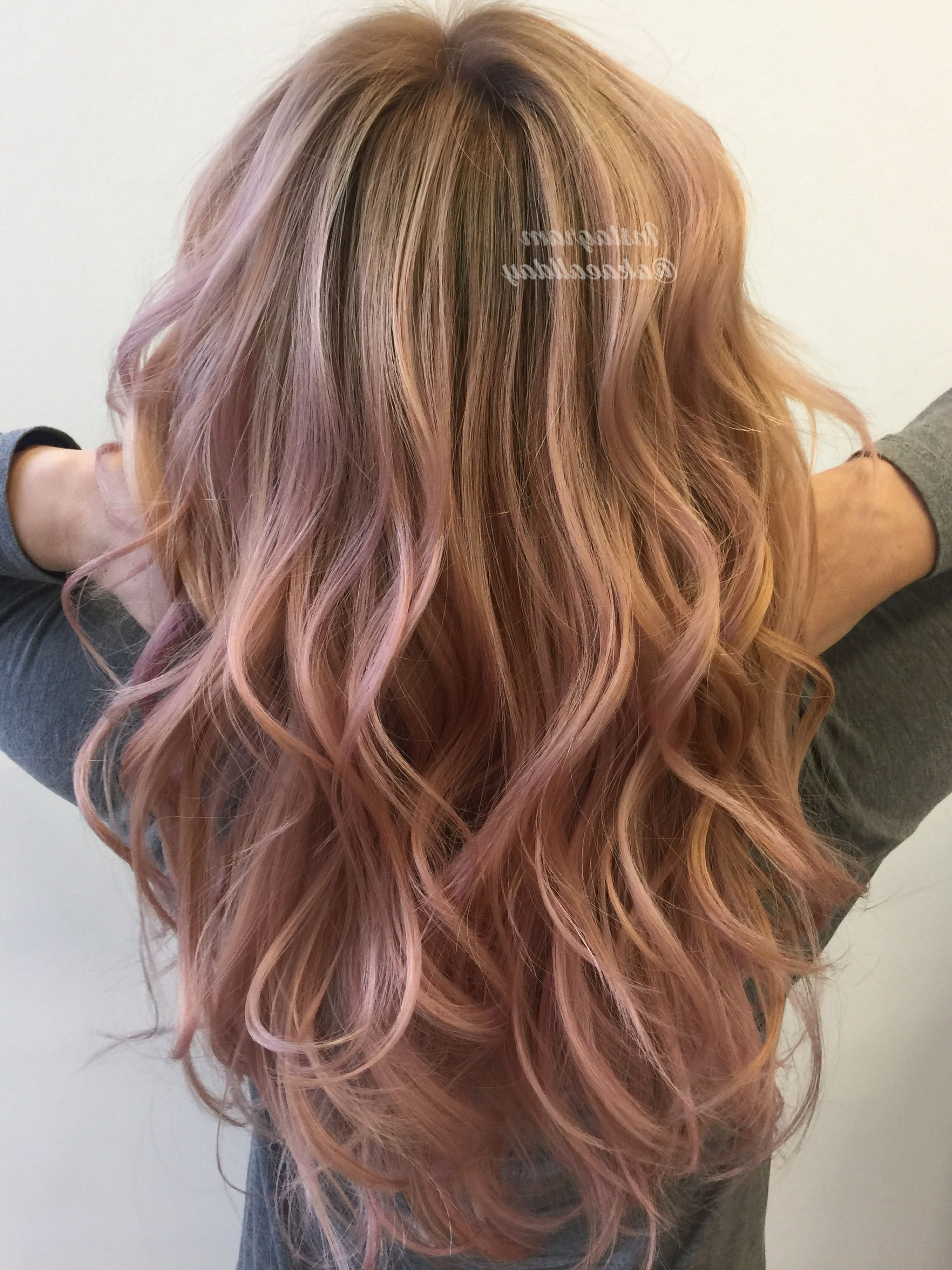 Best And Newest Pastel And Ash Pixie Hairstyles With Fused Layers In Rose Gold Pastel Balayage Blonde Ombré Layers Beach Waves (View 13 of 20)