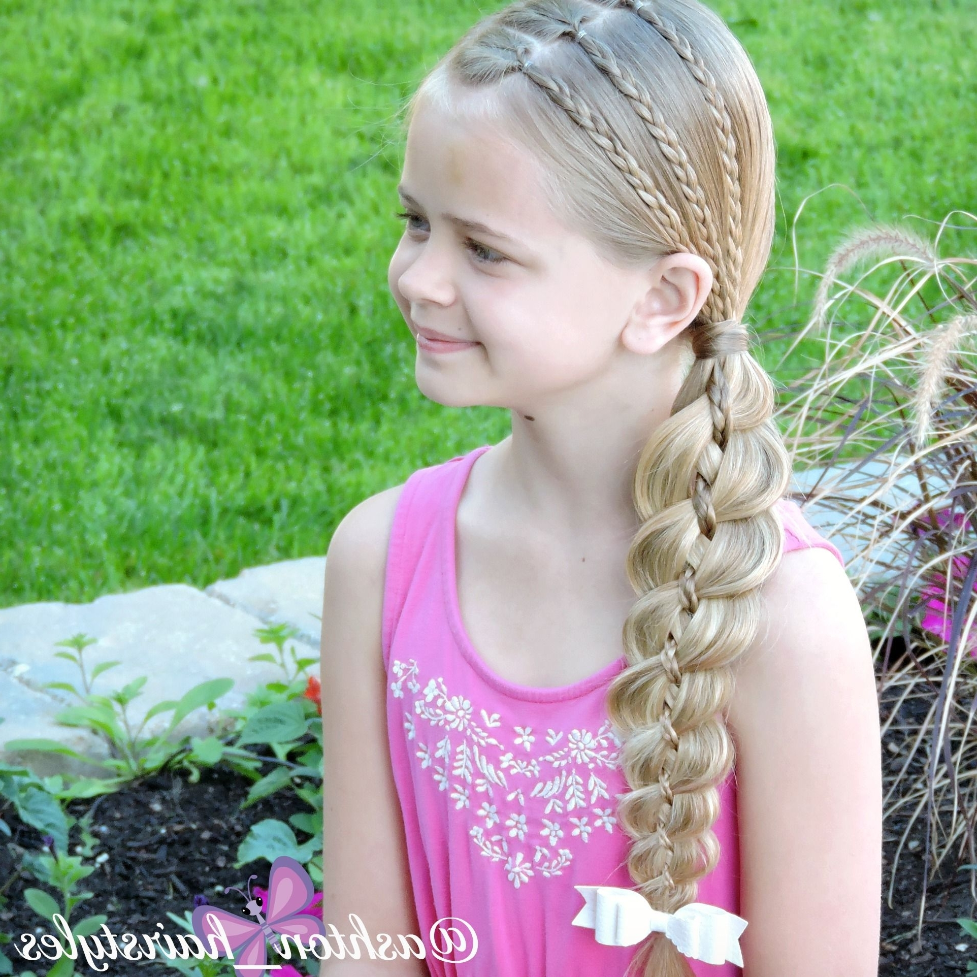 Best And Newest Pony Hairstyles With Accent Braids Inside 3 Accent Braids Into A 4 Strand Side Pony (View 5 of 20)