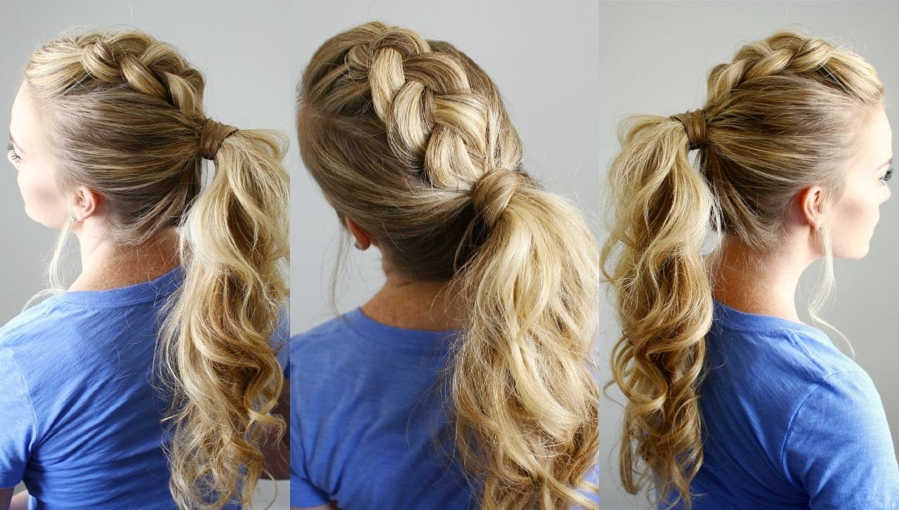 Best And Newest Pony Hairstyles With Textured Braid Intended For Dutch Mohawk Ponytail (View 8 of 20)