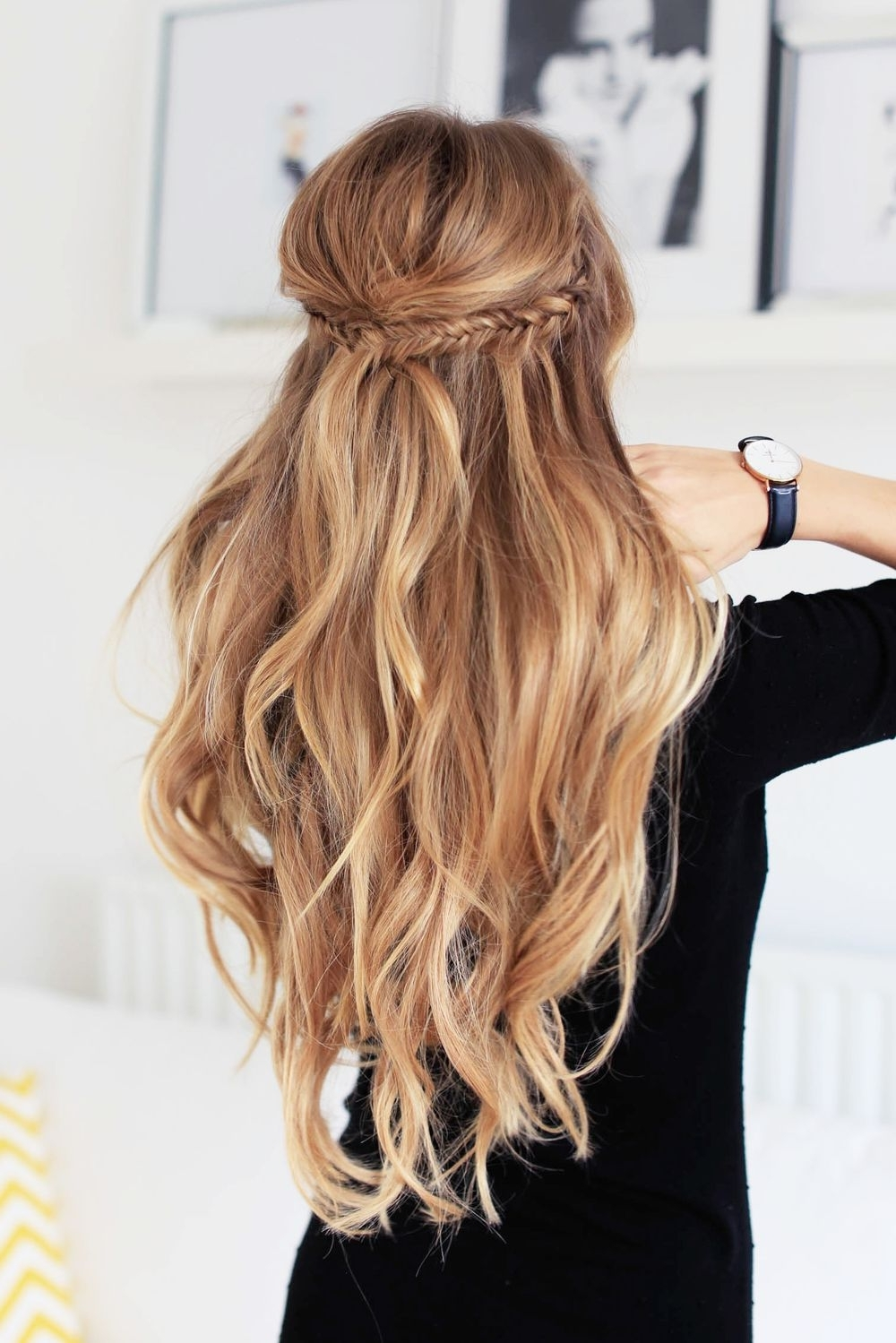 Best And Newest Ponytail Hairstyles With Wild Wavy Ombre With Make Two Small Fishtail Braids On Each Side, Then Put Them Together (View 3 of 20)
