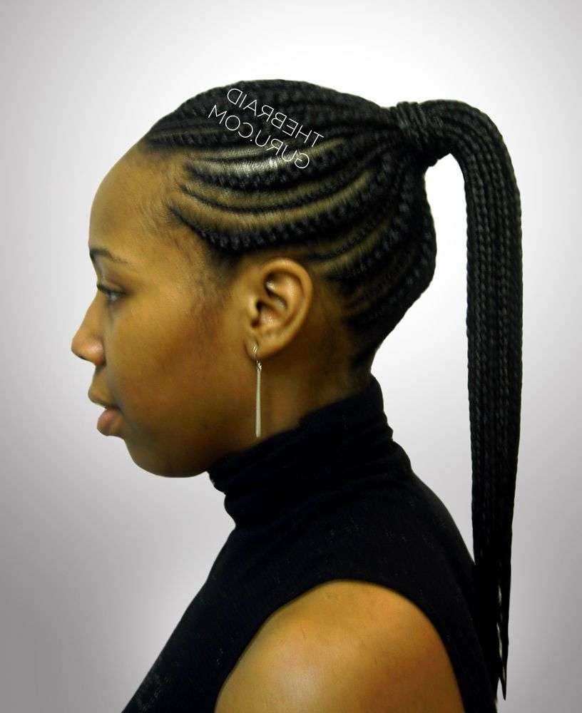 Biggie Small Feed In Cornrows – Ponytail – Side View Braids Intended For Most Current High Ponytail Hairstyles With Jumbo Cornrows (View 4 of 20)