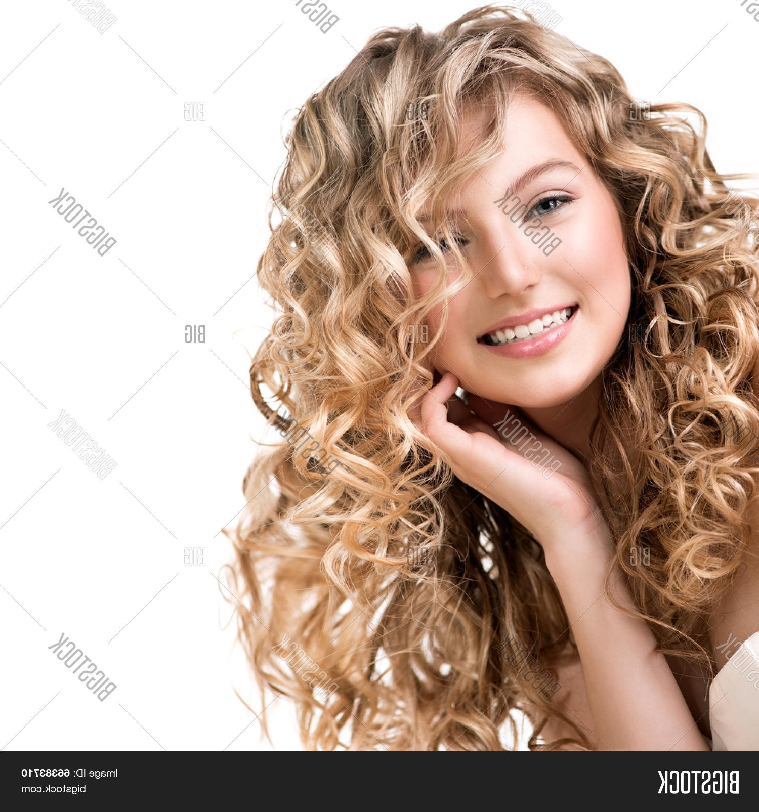 Bigstock For Well Liked Lush And Curly Blonde Hairstyles (View 3 of 20)