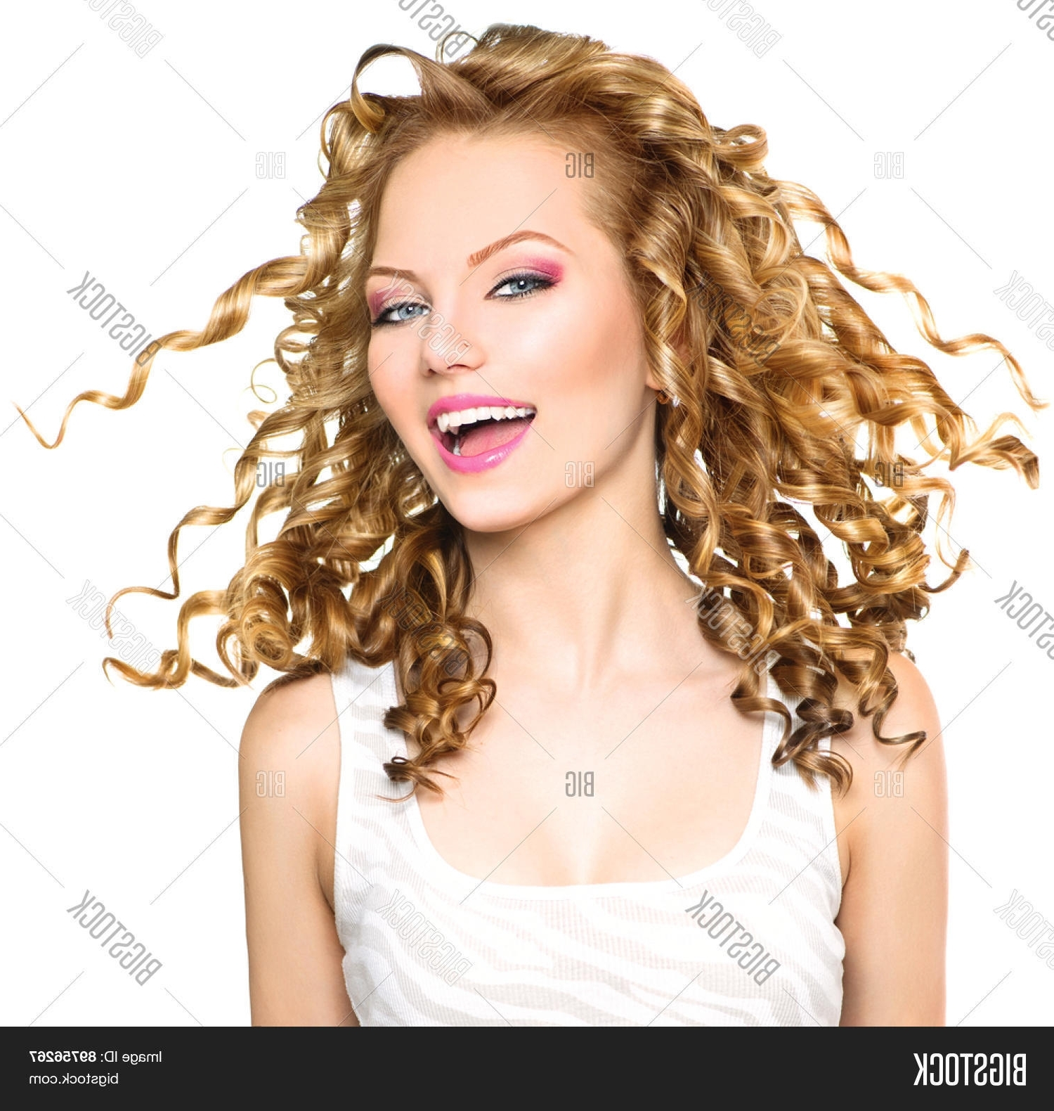Bigstock With Regard To Well Known White Blonde Curls Hairstyles (View 7 of 20)