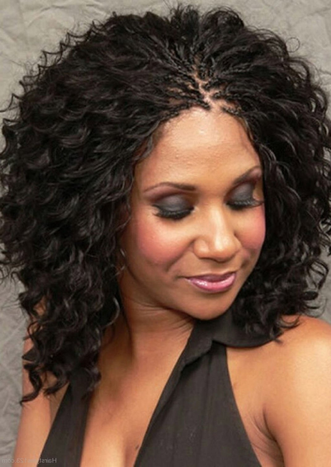 Black Braided Hairstyle With Curly Hairs With Regard To Most Up To Date Wavy And Braided Hairstyles (View 3 of 20)