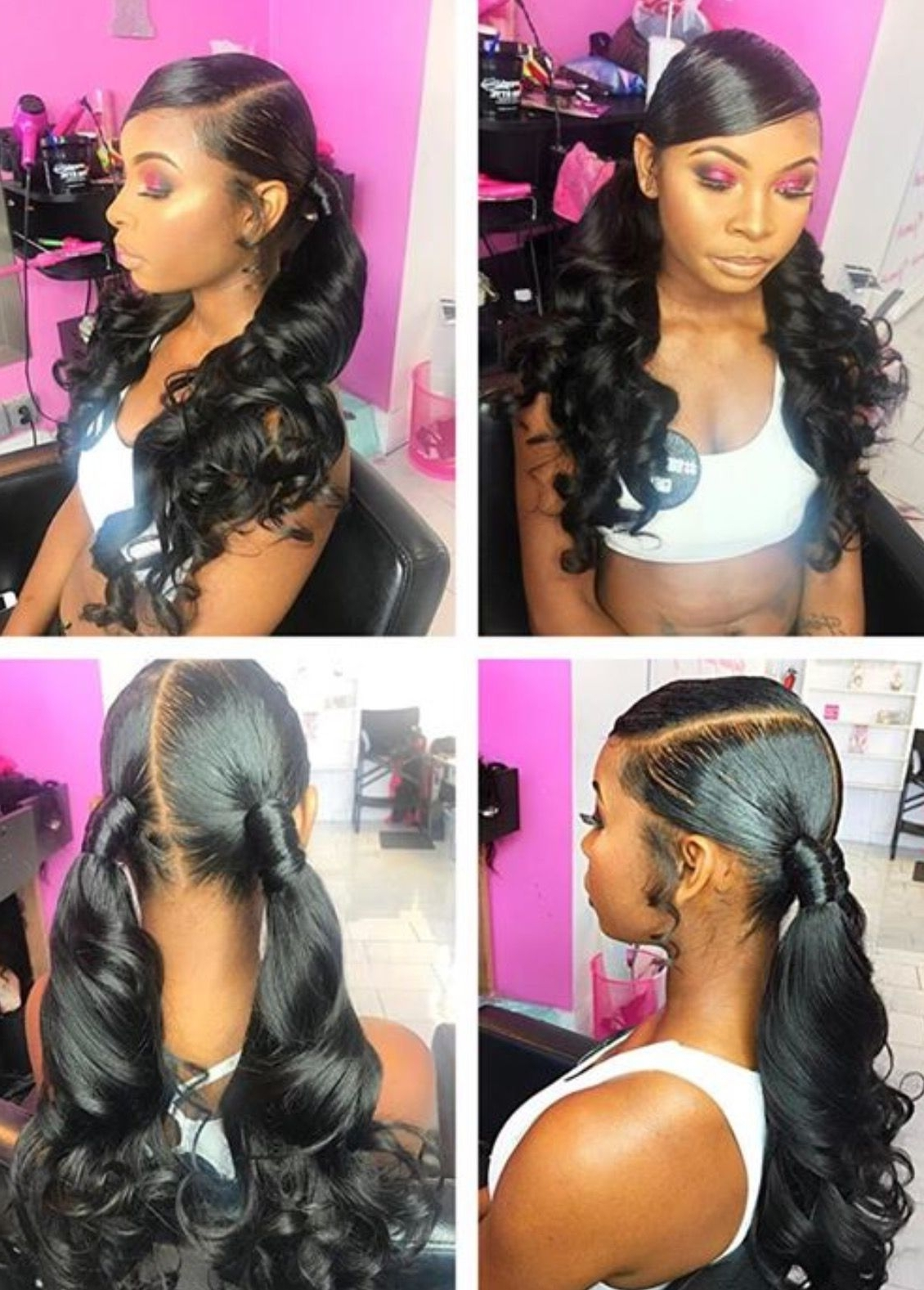 Black Hair, Human Hair, Bundles, Lace Wig,curls, Straight, Wavy With Regard To Well Known Low Ponytail Hairstyles With Waves (View 14 of 20)