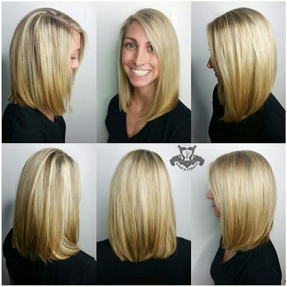 Blonde Highlights And A Long Bob 'lob' Haircut – Yelp Throughout Most Current Blonde Lob Hairstyles With Sweeping Bangs (View 14 of 20)