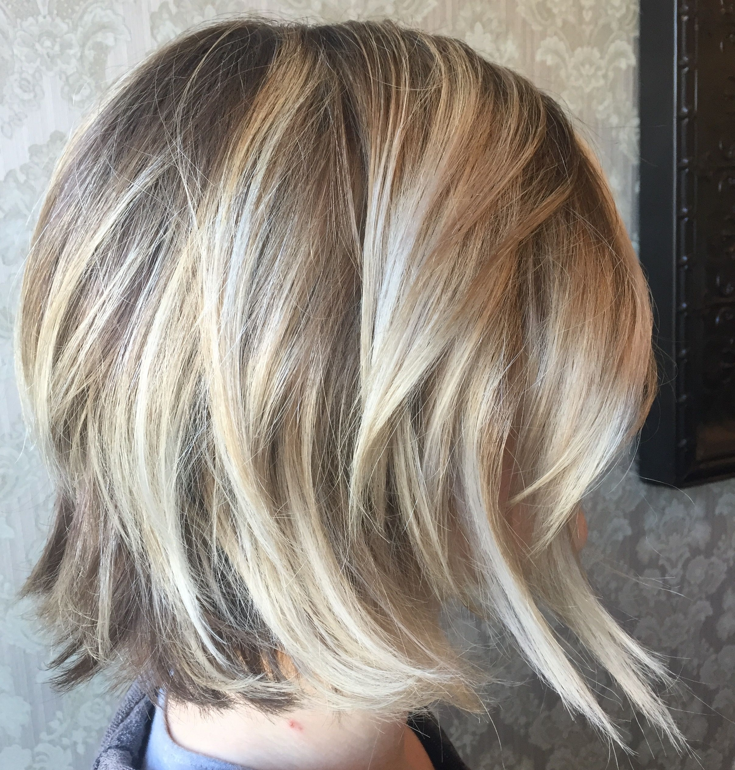 Blonde On Blonde Balayage Highlights, Angled Bob Haircut, Platinum Intended For Favorite Contrasting Highlights Blonde Hairstyles (View 8 of 20)
