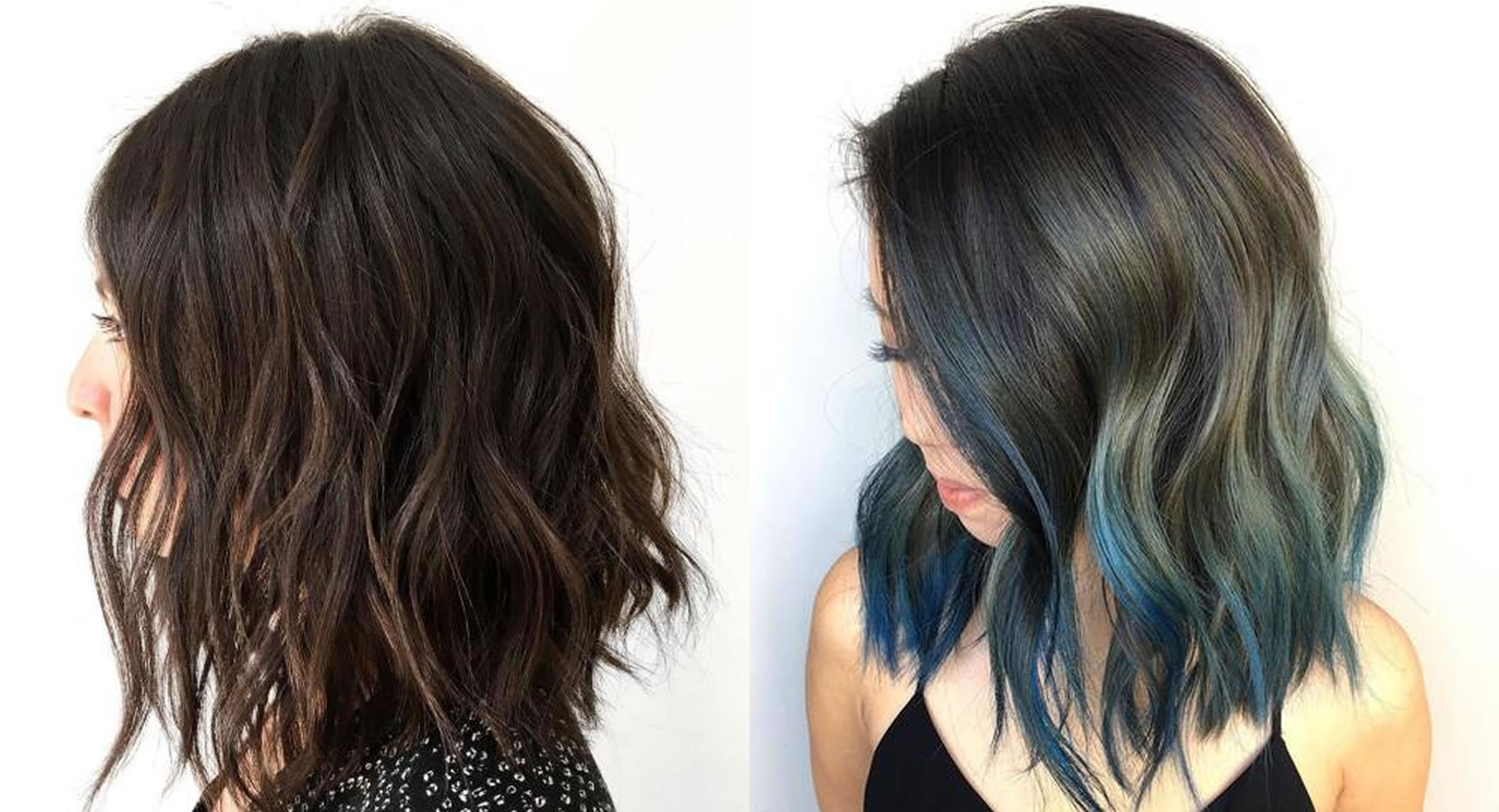 Blue Balayage Hair Color Wavy Long Bob Hairstyles – Hair Colors Regarding Well Known Curly Caramel Blonde Bob Hairstyles (View 11 of 20)