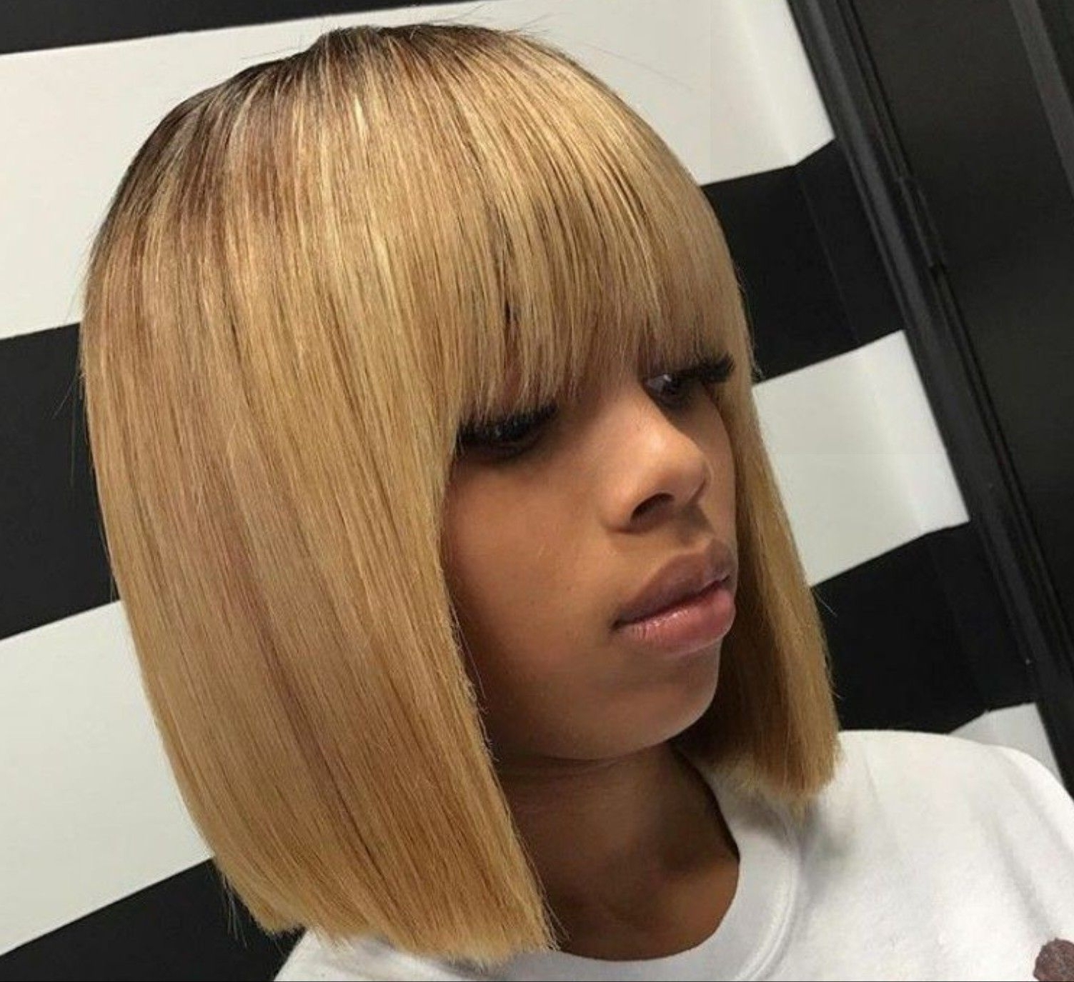 Bobs, Bang In Most Recent Weaved Polished Pony Hairstyles With Blunt Bangs (View 11 of 20)