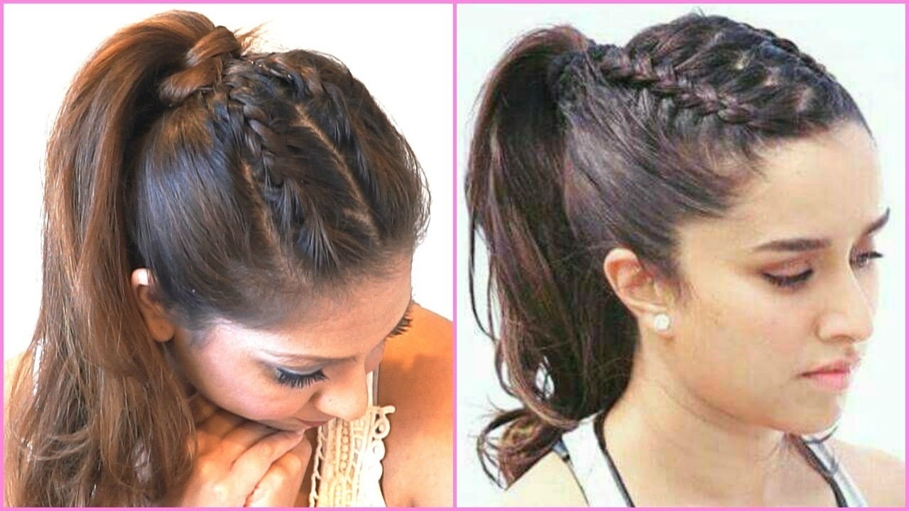Braided Ponytail Hair Tutorial Inspiredshraddha Kapoor In Half Within Newest Perfectly Undone Half Braid Ponytail (View 13 of 20)
