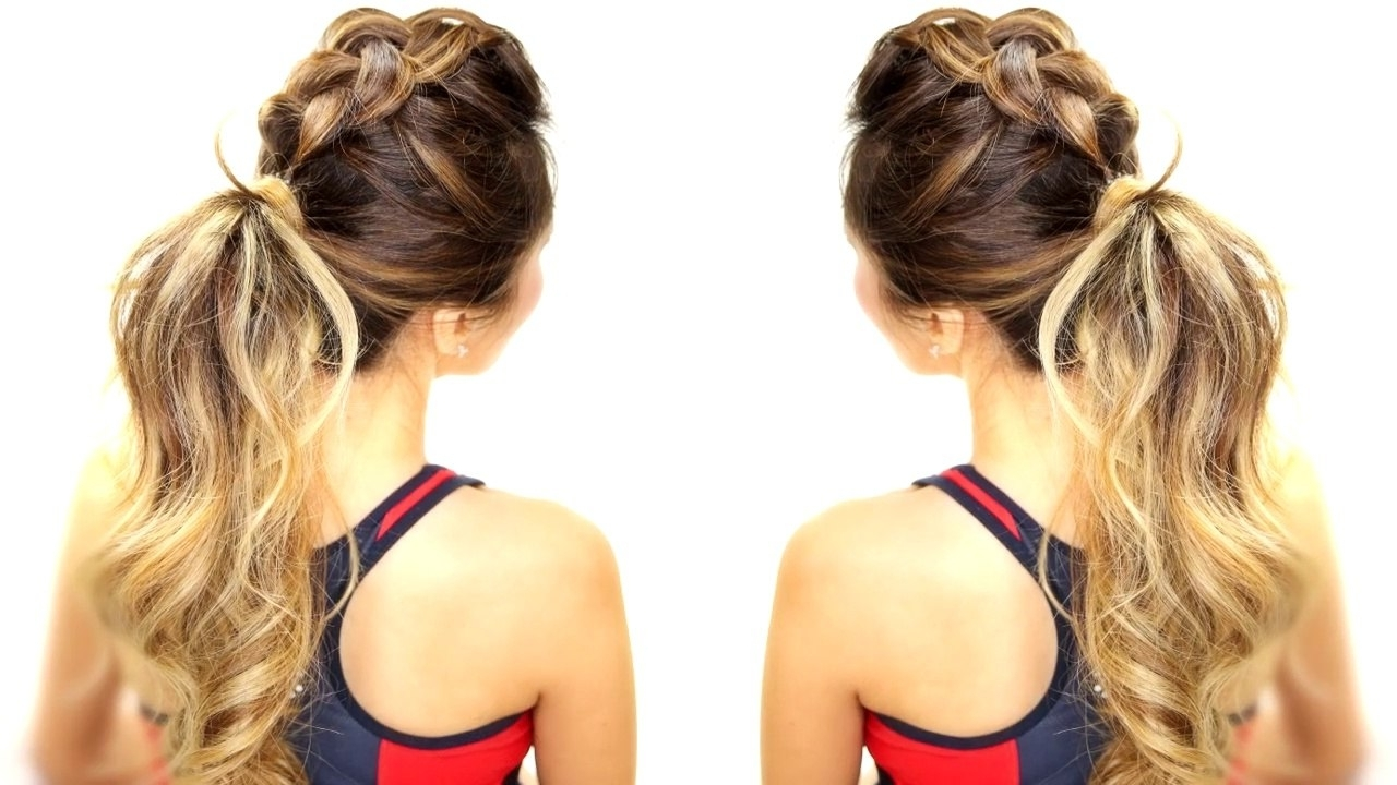 Braids Messy Bun Ponytail – Video Within Popular Long Messy Pony With Braid (View 5 of 20)
