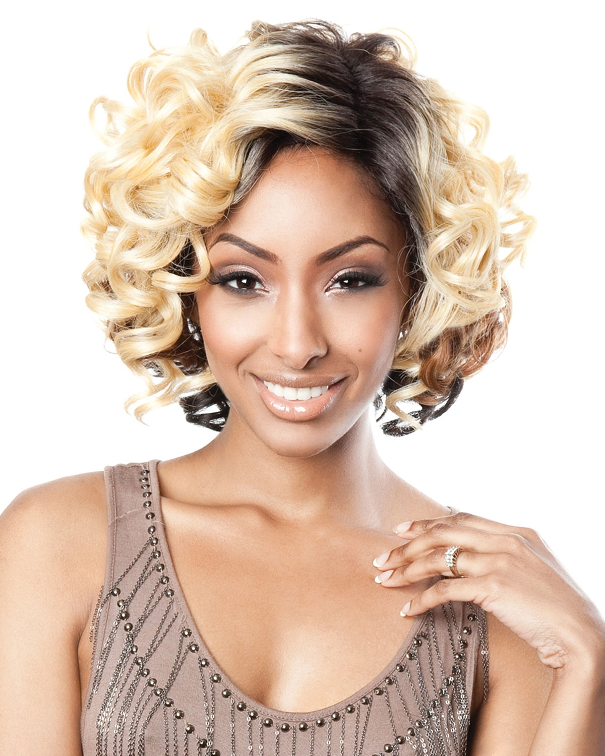 Bs208 Lace Front Human Hair Blend Wigbrown Sugar Throughout Trendy Brown Sugar Blonde Hairstyles (View 7 of 20)
